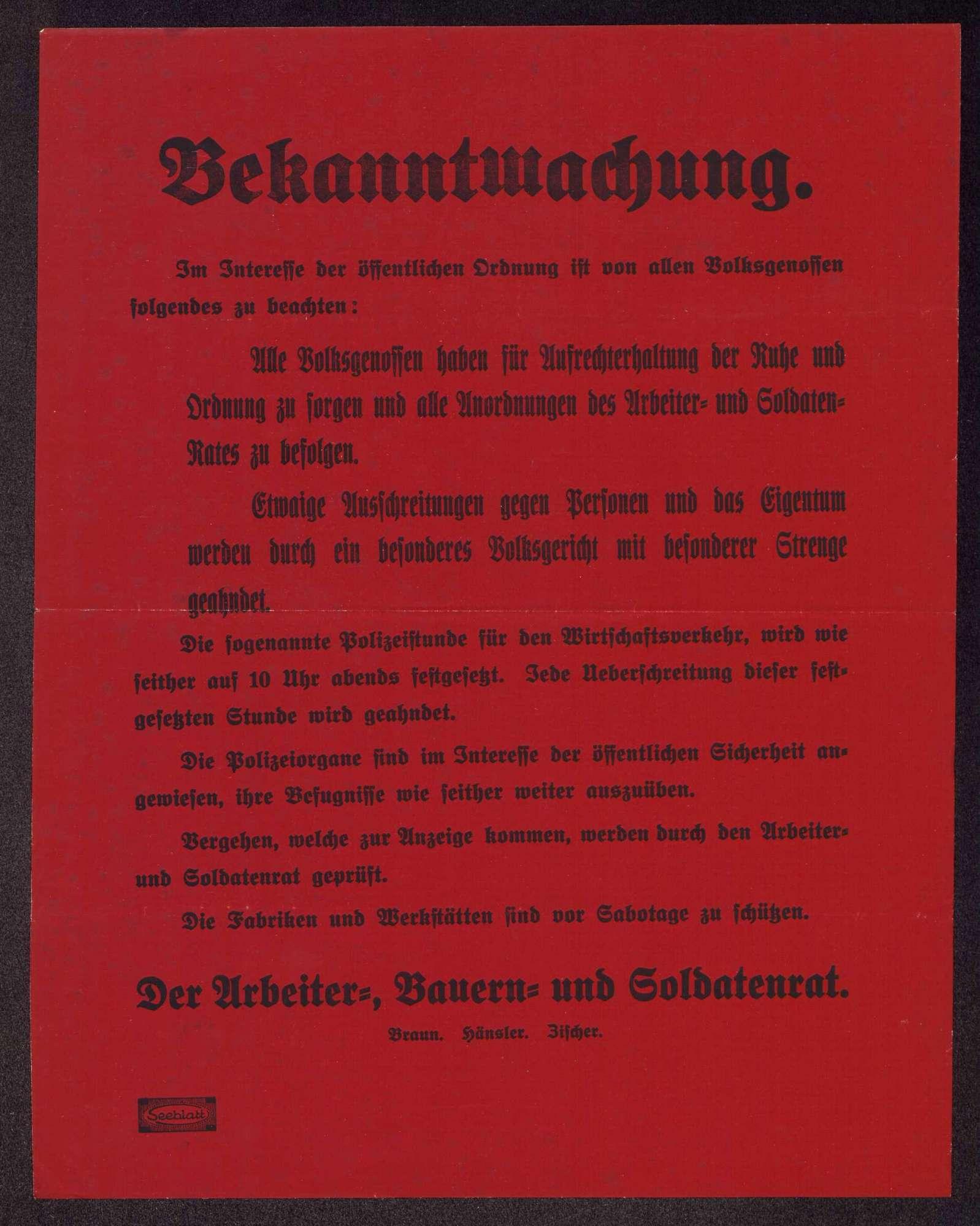 Tätigkeit im Vollzugsausschuss des Arbeiter- und Soldatenrates Groß-Stuttgart, Bild 1