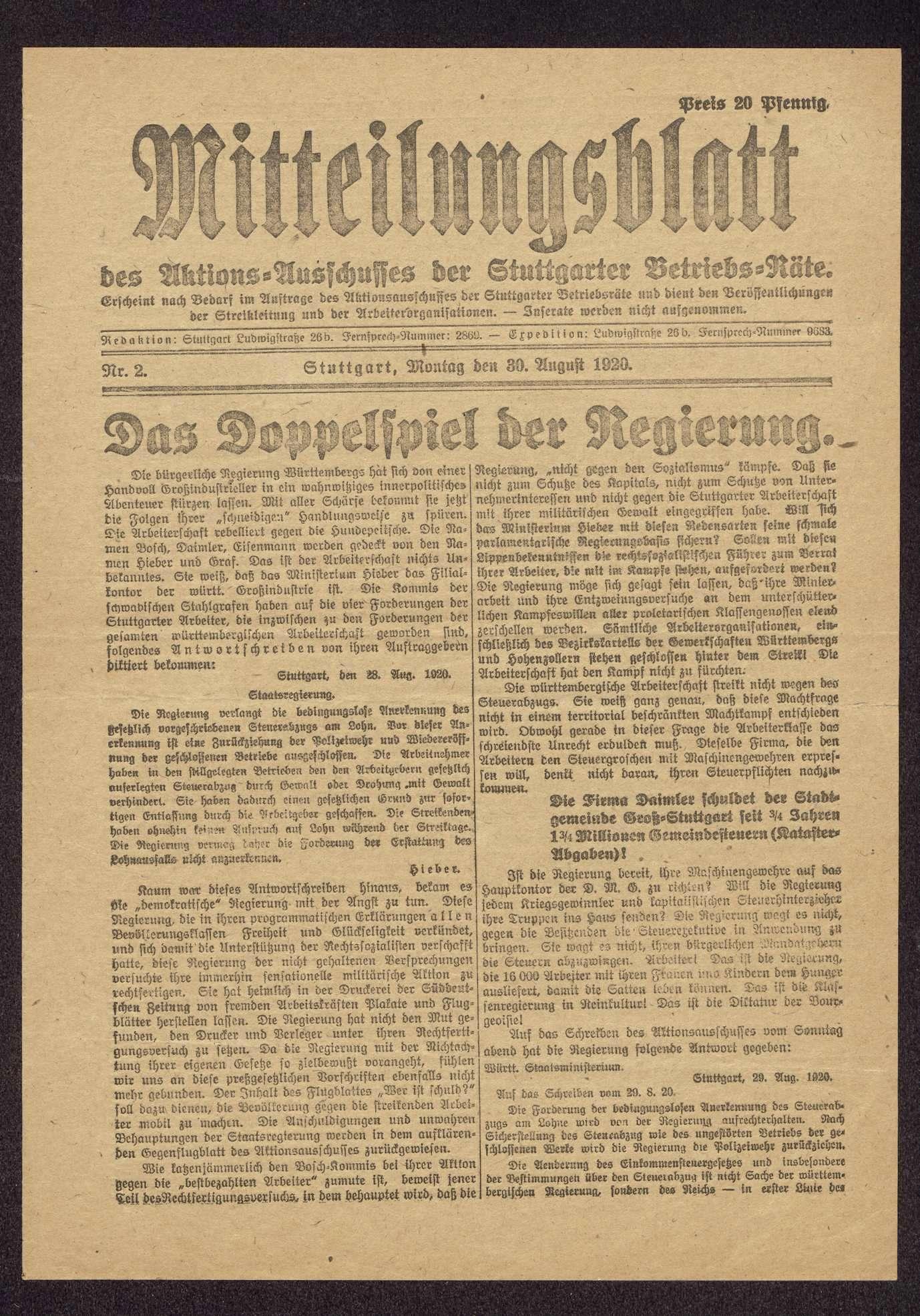 Tätigkeit im Vollzugsausschuss des Arbeiter- und Soldatenrates Groß-Stuttgart, Bild 3