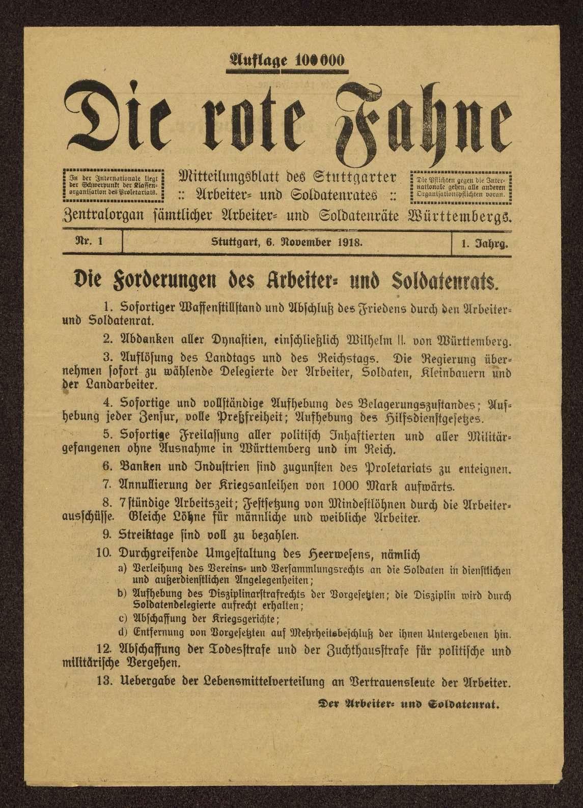 Die rote Fahne. Mitteilungsblatt des Stuttgarter Arbeiter- und Soldatenrats. Zentralorgan sämtlicher Arbeiter- und Soldatenräte Württembergs, Bild 1