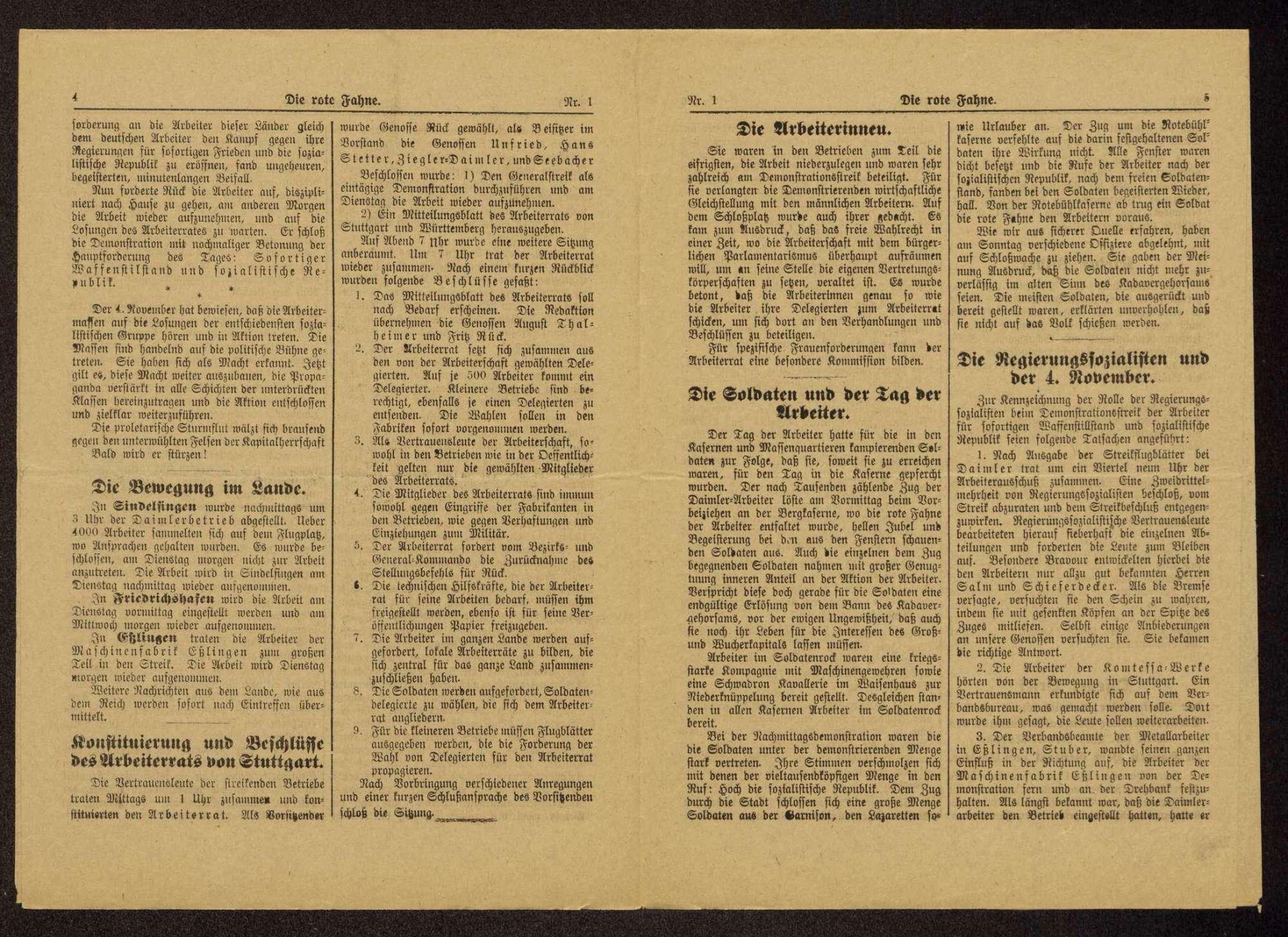 Die rote Fahne. Mitteilungsblatt des Stuttgarter Arbeiter- und Soldatenrats. Zentralorgan sämtlicher Arbeiter- und Soldatenräte Württembergs, Bild 2