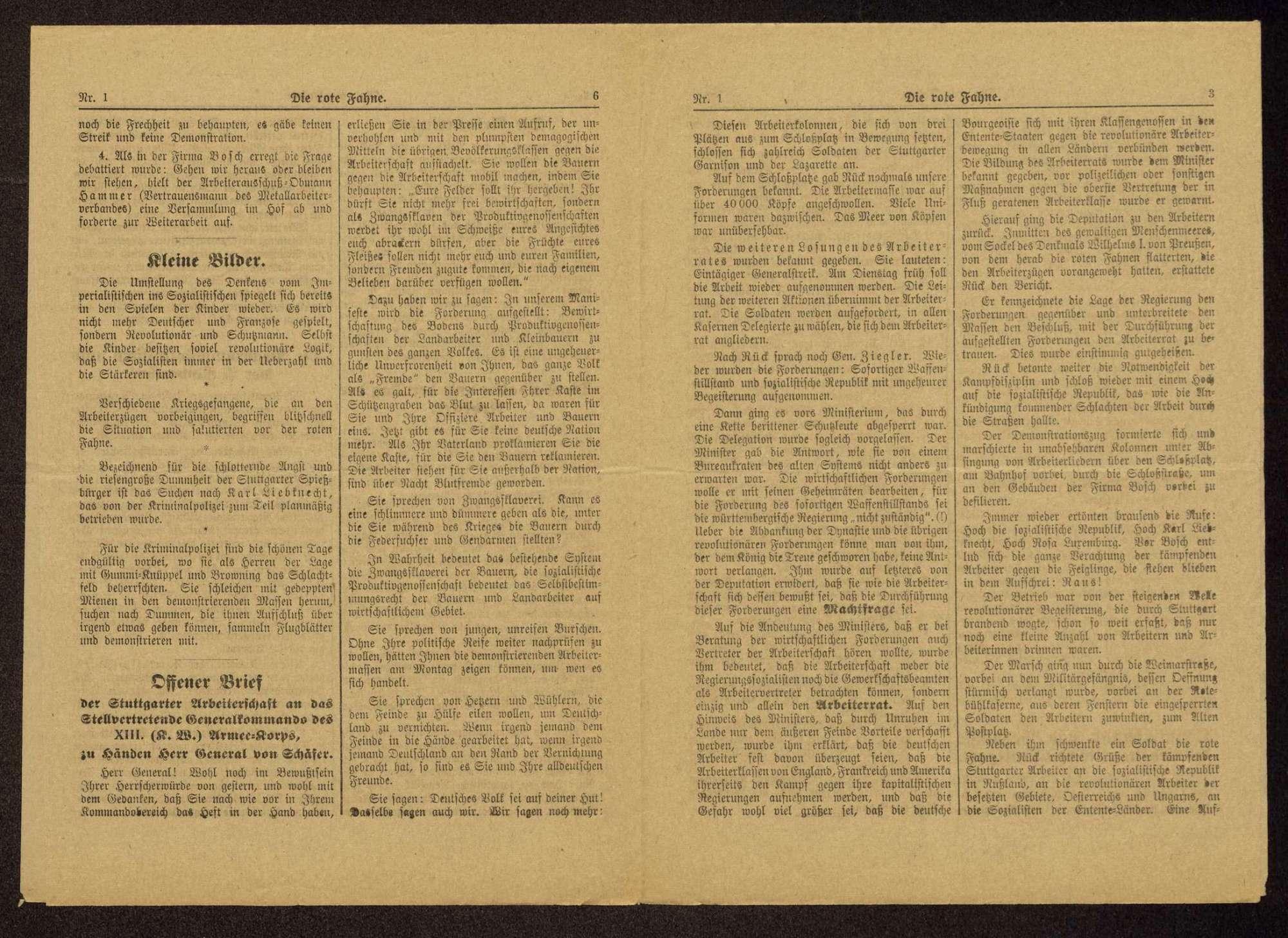 Die rote Fahne. Mitteilungsblatt des Stuttgarter Arbeiter- und Soldatenrats. Zentralorgan sämtlicher Arbeiter- und Soldatenräte Württembergs, Bild 3