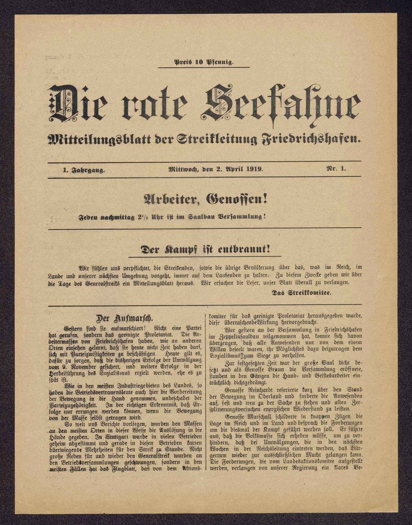 Die rote Seefahne. Mitteilungsblatt der Streikleitung Friedrichshafen, Bild 1