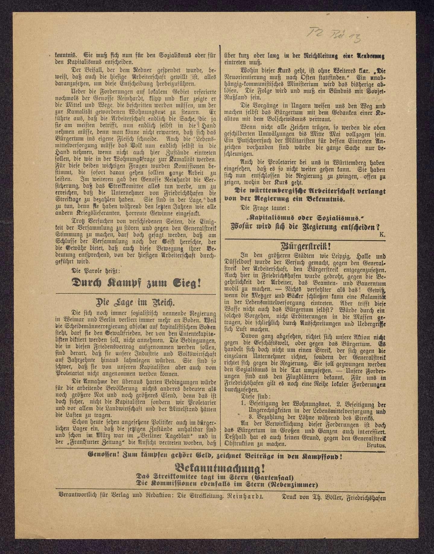 Die rote Seefahne. Mitteilungsblatt der Streikleitung Friedrichshafen, Bild 2