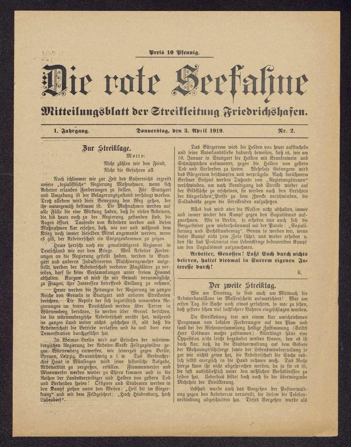 Die rote Seefahne. Mitteilungsblatt der Streikleitung Friedrichshafen, Bild 3
