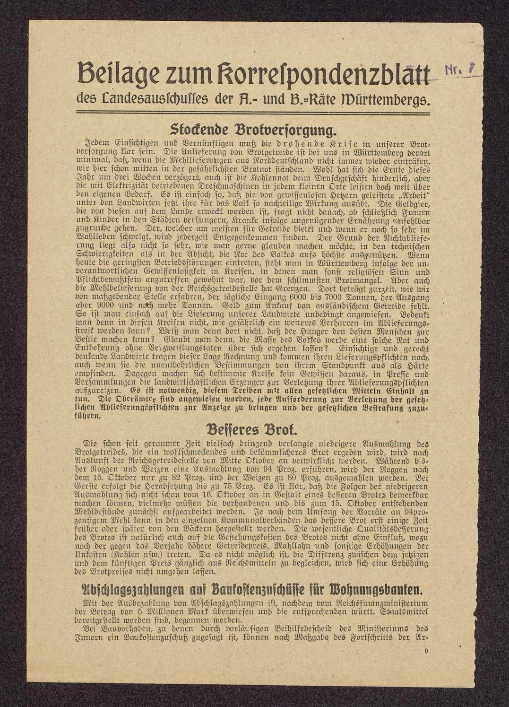 Korrespondenzblatt des Landesausschusses der Arbeiter- und Bauernräte Württembergs, Bild 1