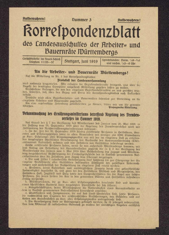 Korrespondenzblatt des Landesausschusses der Arbeiter- und Bauernräte Württembergs, Bild 3