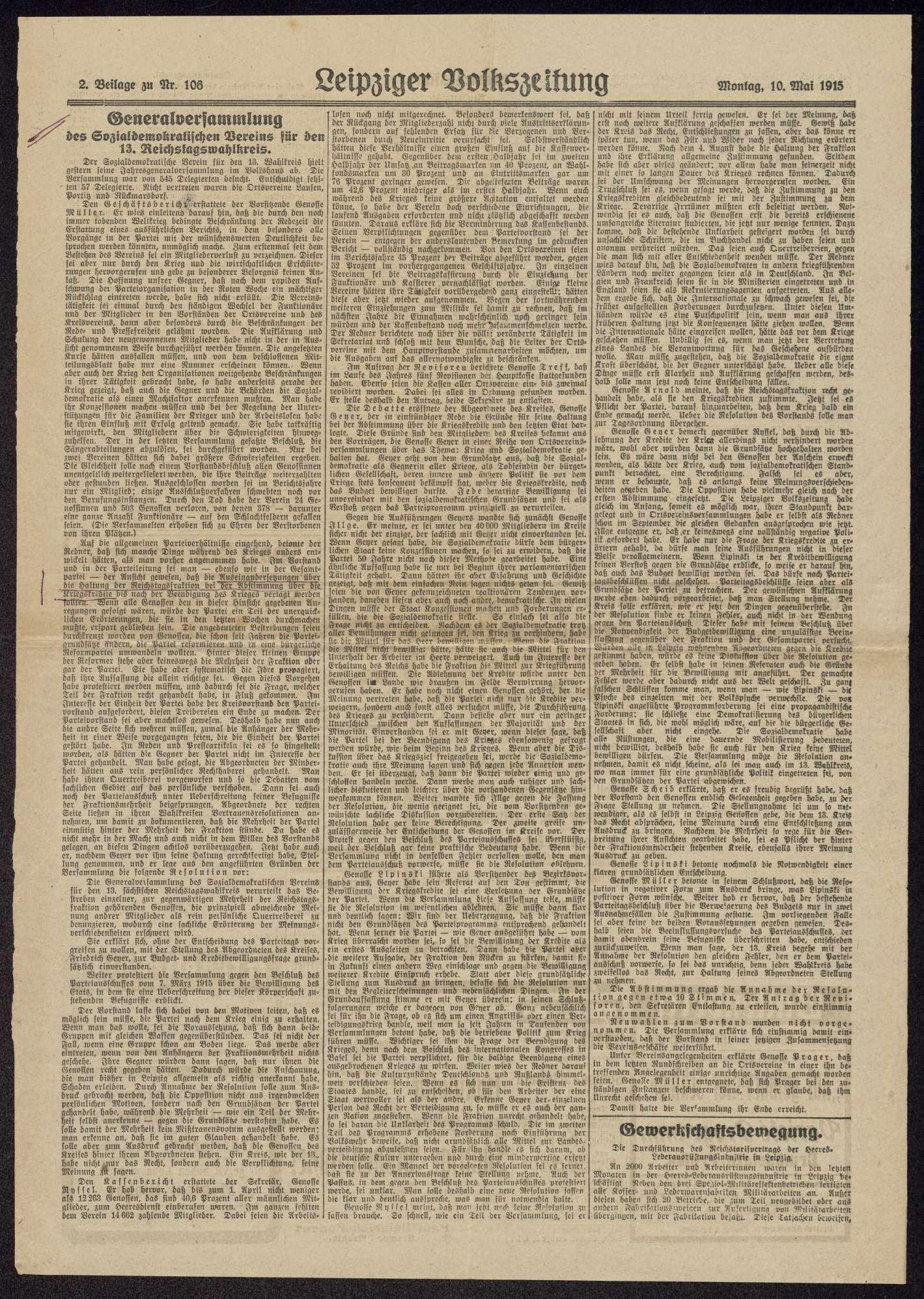 Haltung der Sozialdemokratie bei Kriegsanbruch und während des 1. Weltkriegs, Bild 2
