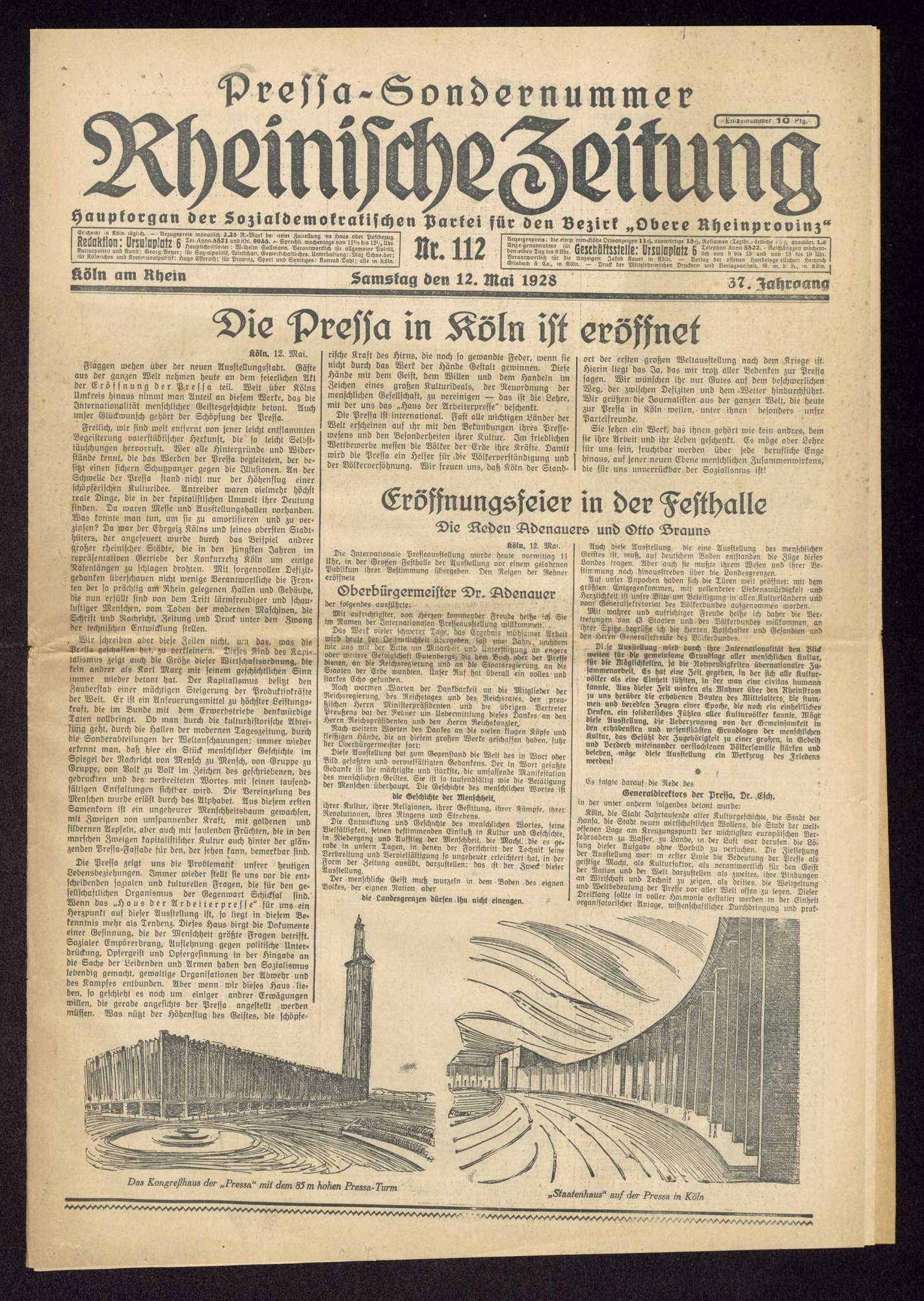 """Rheinische Zeitung. Hauptorgan der Sozialdemokratischen Partei für den Bezirk """"Obere Rheinprovinz"""", Köln, Nr. 112 v. 12.5.1928, Sondernummer zur Eröffnung der Internationalen Presseausstellung """"Pressa"""", Bild 1"""