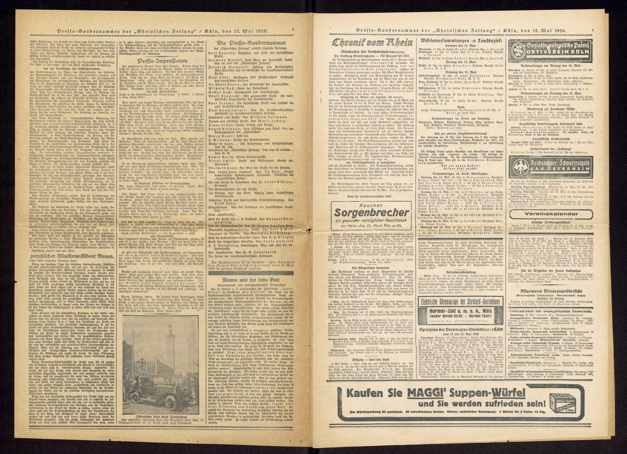 """Rheinische Zeitung. Hauptorgan der Sozialdemokratischen Partei für den Bezirk """"Obere Rheinprovinz"""", Köln, Nr. 112 v. 12.5.1928, Sondernummer zur Eröffnung der Internationalen Presseausstellung """"Pressa"""", Bild 2"""