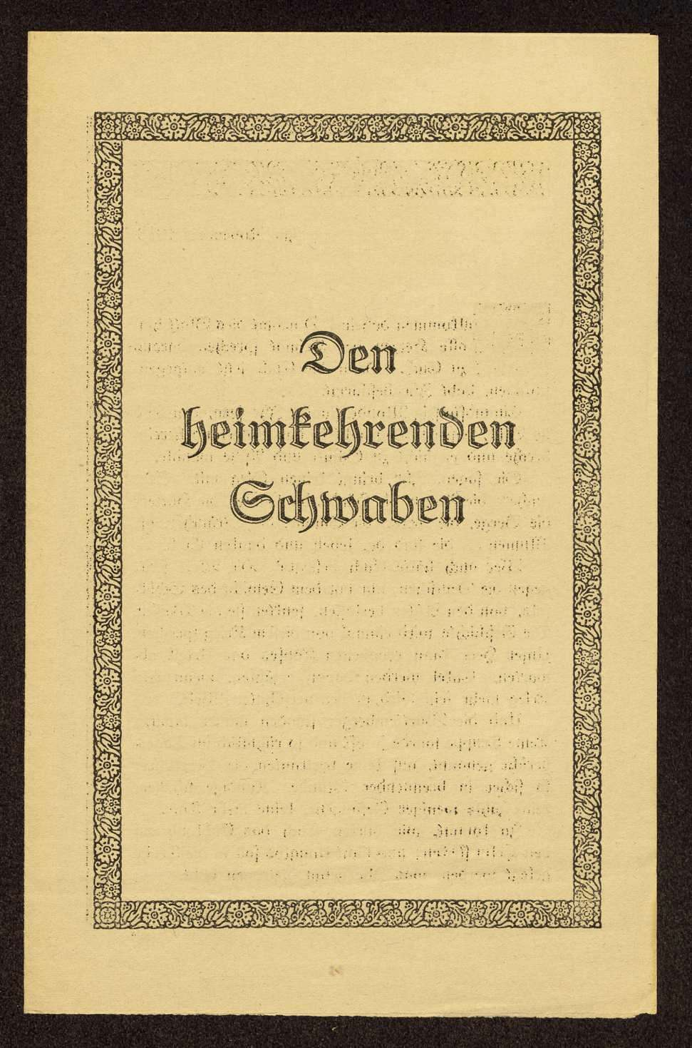 """Aufruf des württembergischen Arbeitsministeriums """"Den heimkehrenden Schwaben"""", Bild 1"""