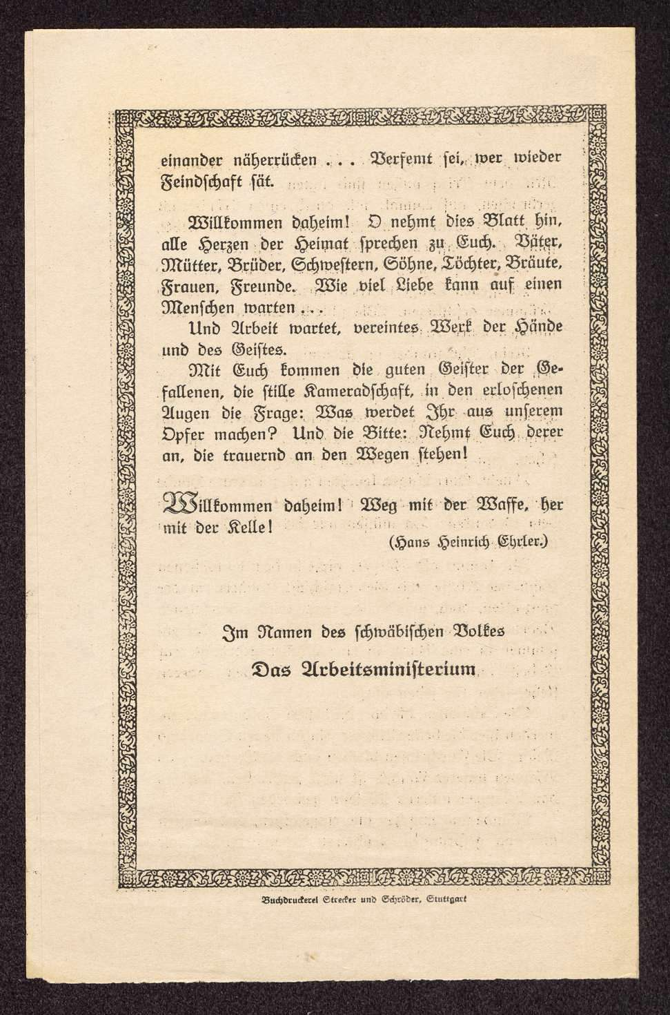 """Aufruf des württembergischen Arbeitsministeriums """"Den heimkehrenden Schwaben"""", Bild 3"""