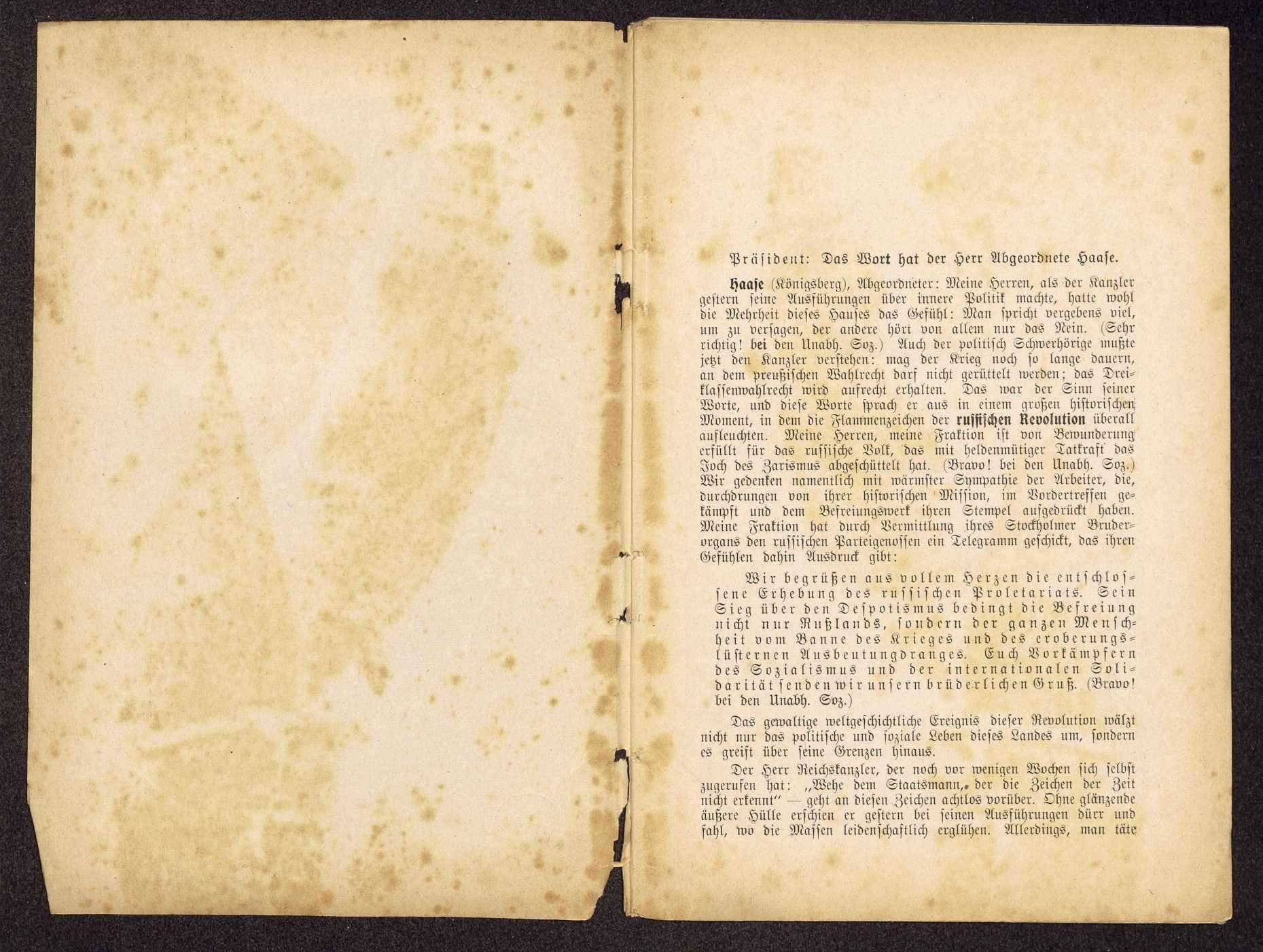 Die Unabhängigen Sozialdemokraten und die innere und äußere Politik im Reichstag. Amtlicher stenographischer Bericht der 96. Sitzung vom 30. März 1917 (Druck: Mönius, Celle), Bild 2