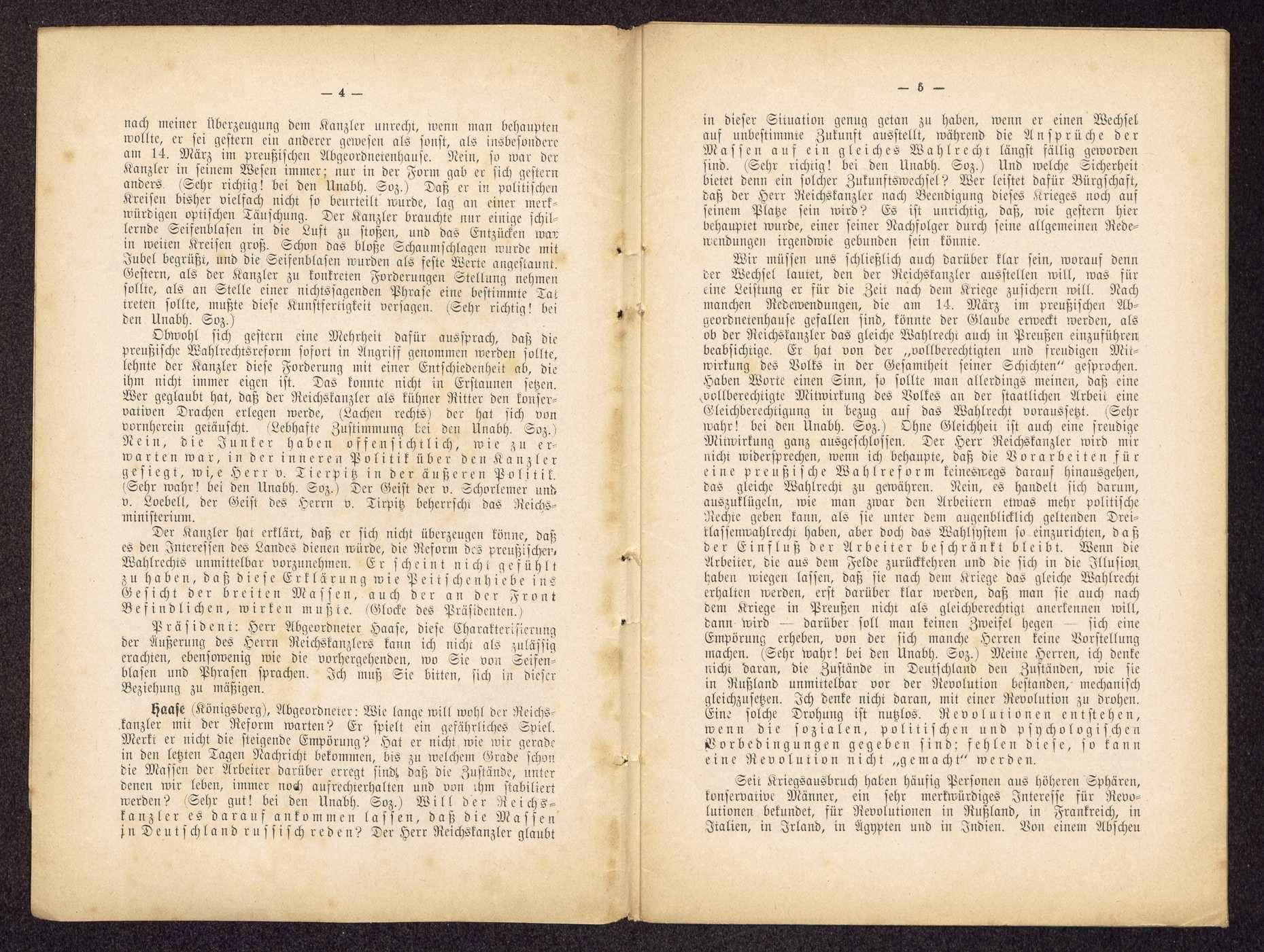 Die Unabhängigen Sozialdemokraten und die innere und äußere Politik im Reichstag. Amtlicher stenographischer Bericht der 96. Sitzung vom 30. März 1917 (Druck: Mönius, Celle), Bild 3