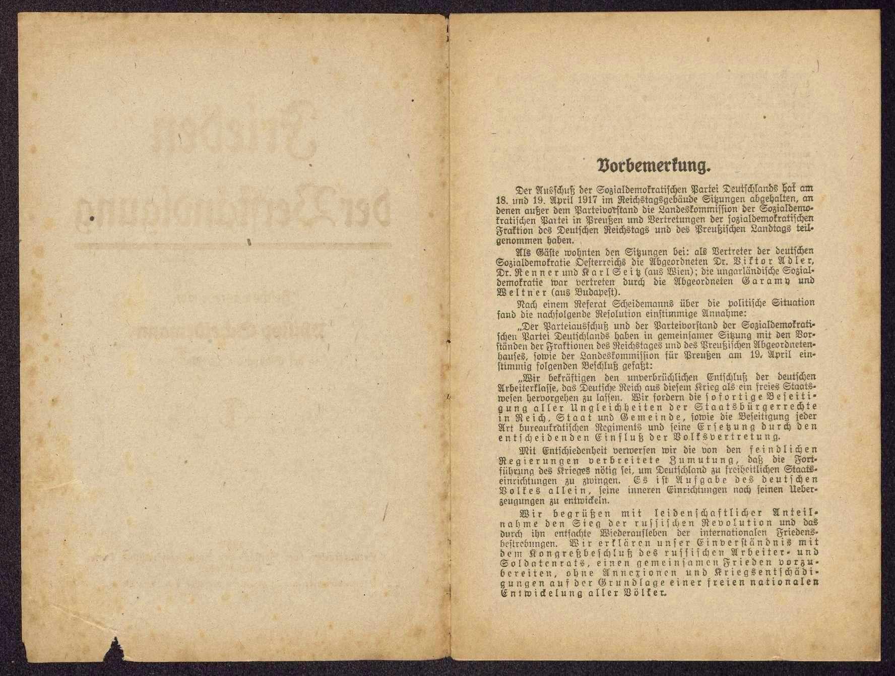 Philipp Scheidemann: Frieden der Verständigung. Reichstagsrede in der Sitzung am 15. Mai 1917 (Hrsg. vom Vorstand der SPD), Bild 2