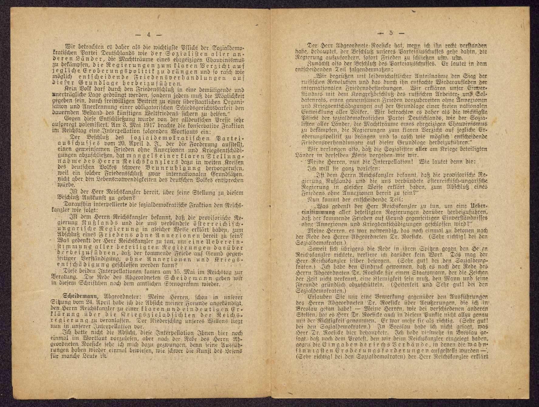 Philipp Scheidemann: Frieden der Verständigung. Reichstagsrede in der Sitzung am 15. Mai 1917 (Hrsg. vom Vorstand der SPD), Bild 3