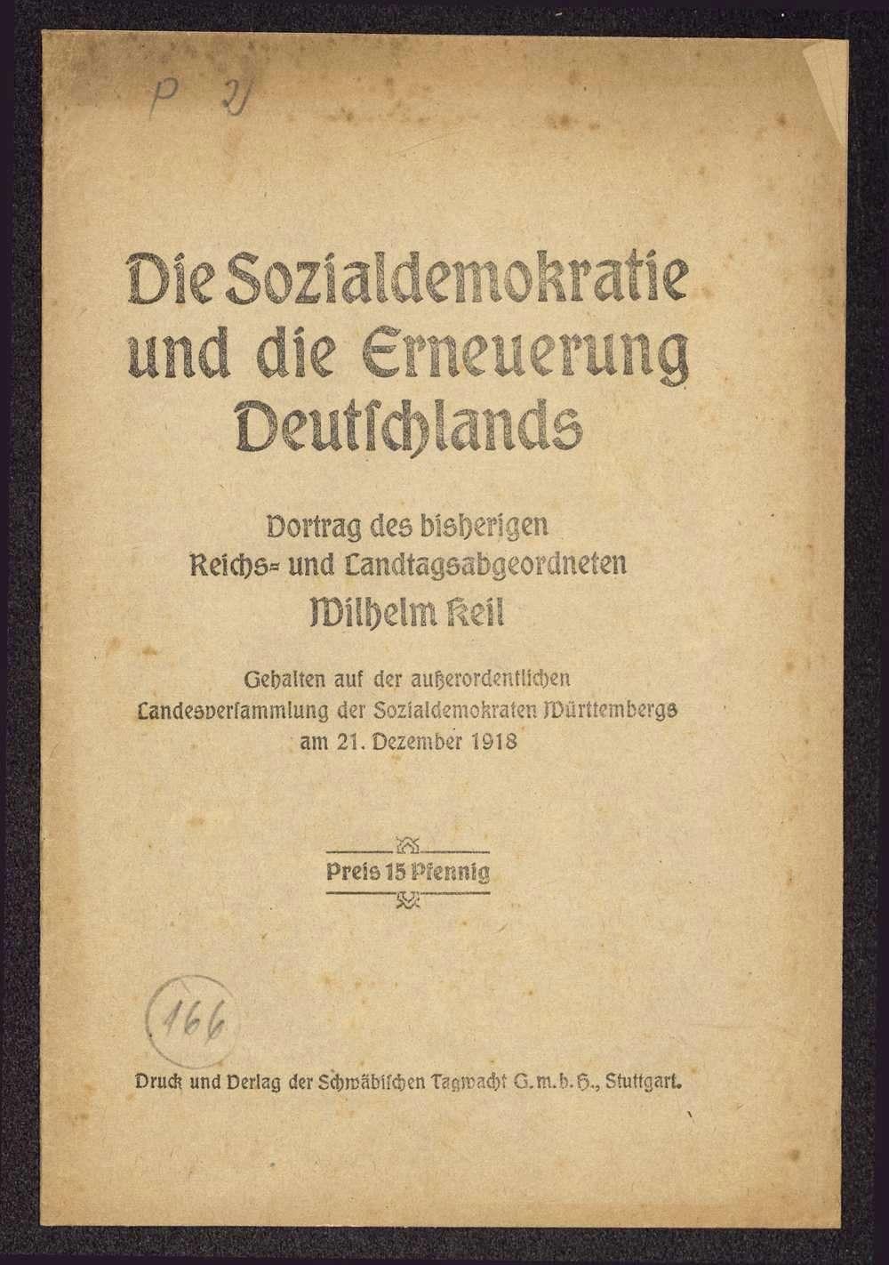Wilhelm Keil: Die Sozialdemokratie und die Erneuerung Deutschlands. Vortrag ... auf der außerordentlichen Landesversammlung der Sozialdemokraten Württembergs am 21. Dezember 1918 (Schwäbische Tagwacht G.m.b.H., Stuttgart), Bild 1
