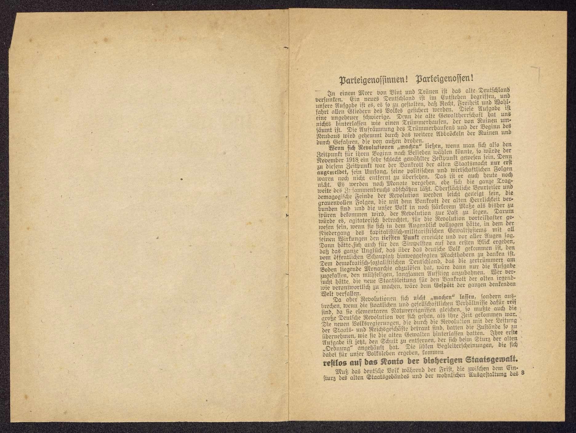 Wilhelm Keil: Die Sozialdemokratie und die Erneuerung Deutschlands. Vortrag ... auf der außerordentlichen Landesversammlung der Sozialdemokraten Württembergs am 21. Dezember 1918 (Schwäbische Tagwacht G.m.b.H., Stuttgart), Bild 2