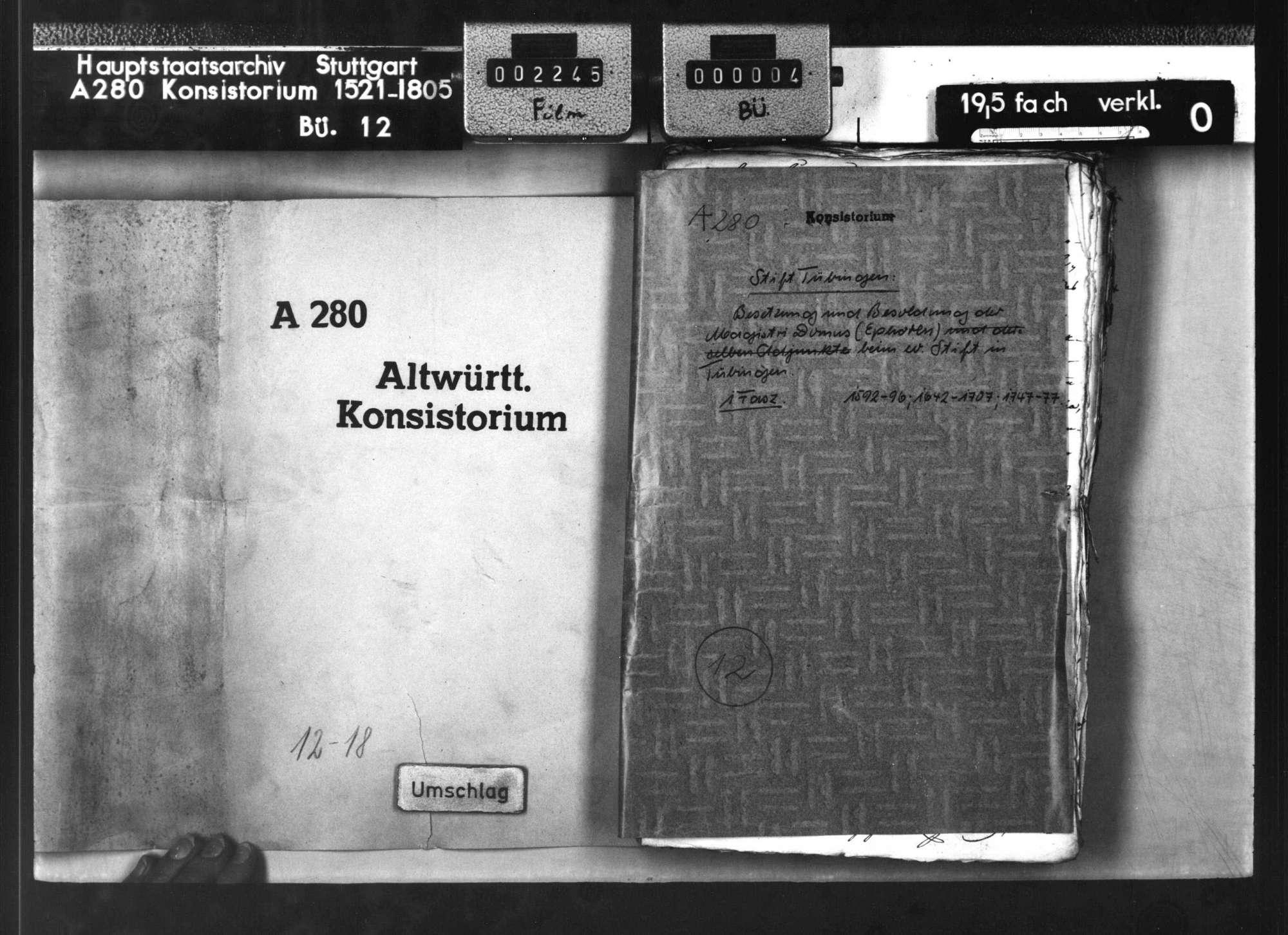 Besetzung und Besoldung der Magistri Domus (Ephoren) beim Theologischen Stift in Tübingen, Bild 1