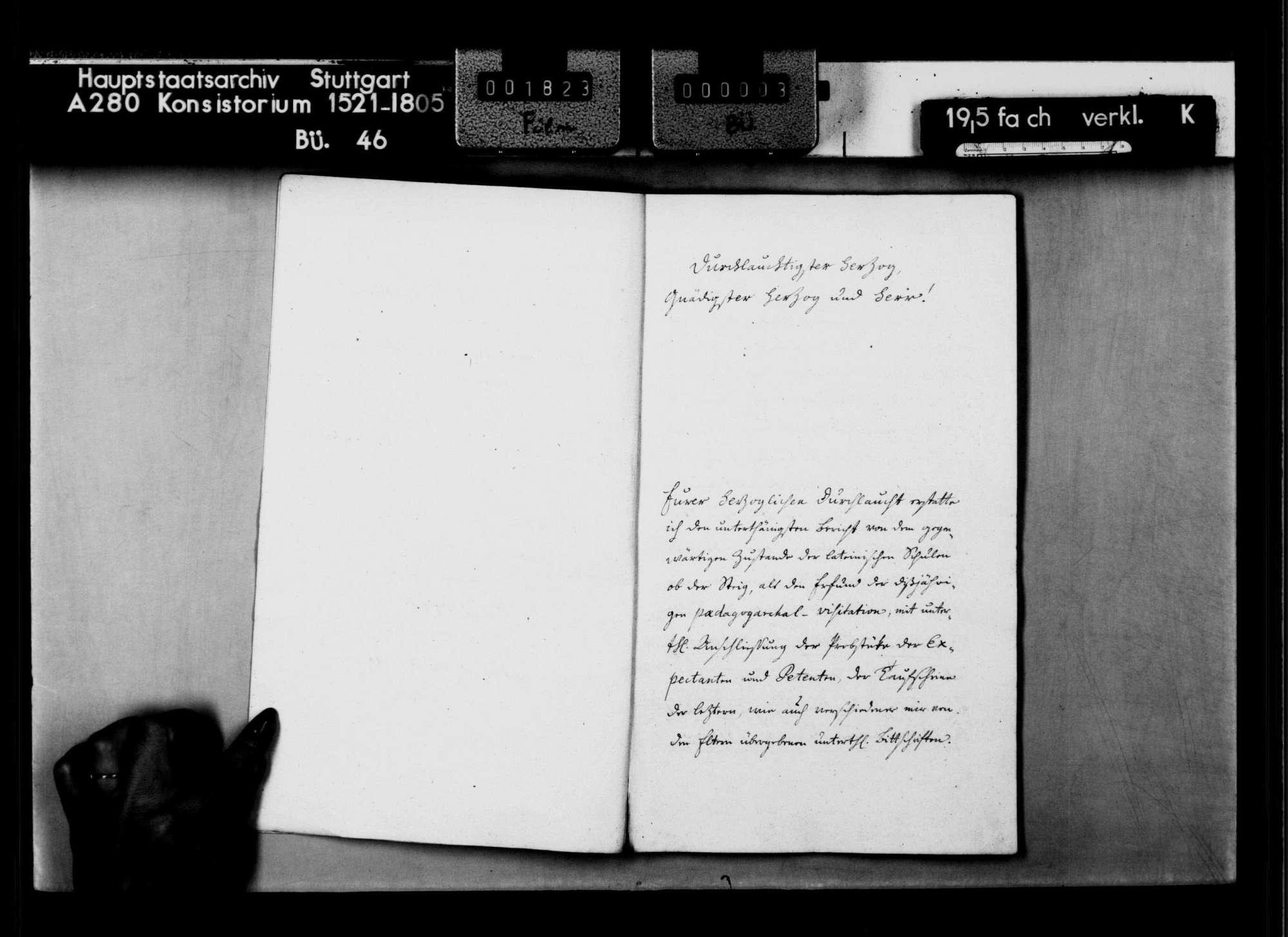 Visitationsrelation des Pädagogarchen Prof. August Friedrich Bök über die Lateinschulen ob der Steig (mit Angaben über die Lehrer sowie die Schüler, die zum Landexamen zugelassen werden oder Aufnahme Wünschen, Bild 3