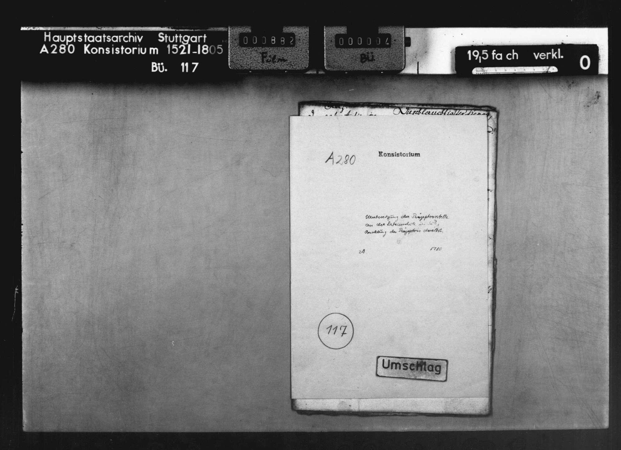 Neubesetzung der Präzeptorstelle an der Lateinschule in Sulz a. N., Besoldung des Präzeptors deselbst, Bild 1