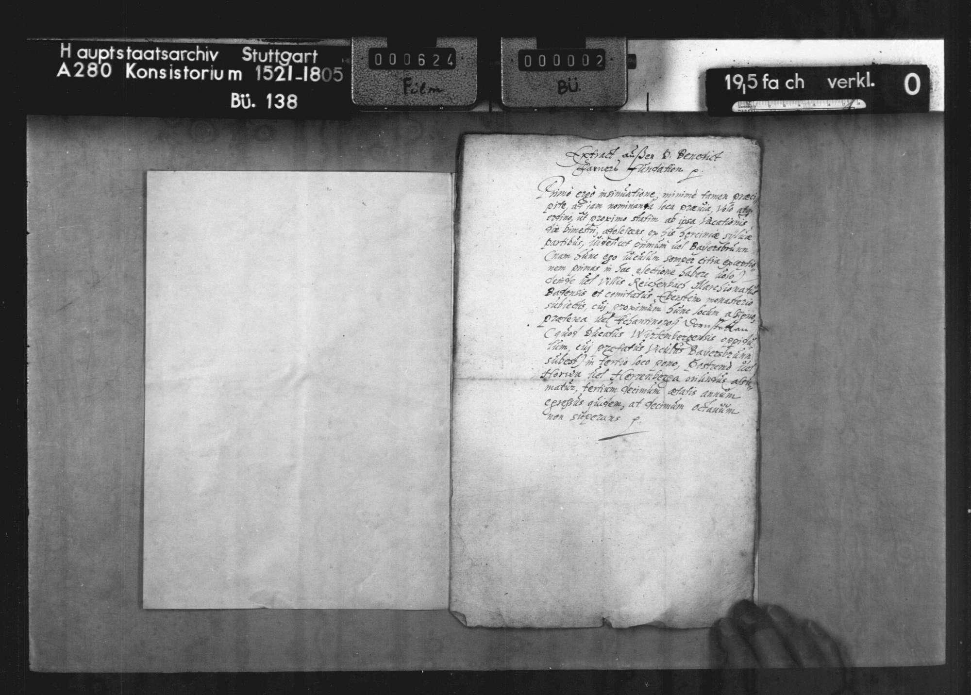 Bericht der Superintendenten des Stipendiums Martinianum des Klosters Reichenbach betr. die Stiftung des Benedikt Farner, Propst zu Herrenberg, vom Jahre 1537 über 800 fl., mit Auszug aus der Fundation ( lat.), Bild 2
