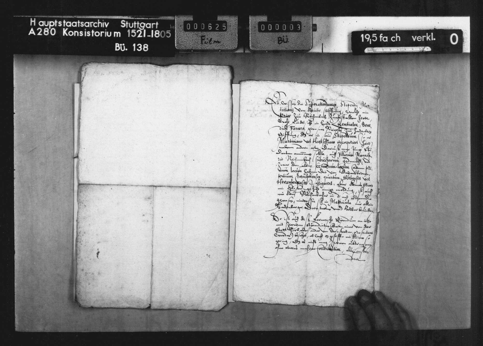 Bericht der Superintendenten des Stipendiums Martinianum des Klosters Reichenbach betr. die Stiftung des Benedikt Farner, Propst zu Herrenberg, vom Jahre 1537 über 800 fl., mit Auszug aus der Fundation ( lat.), Bild 3
