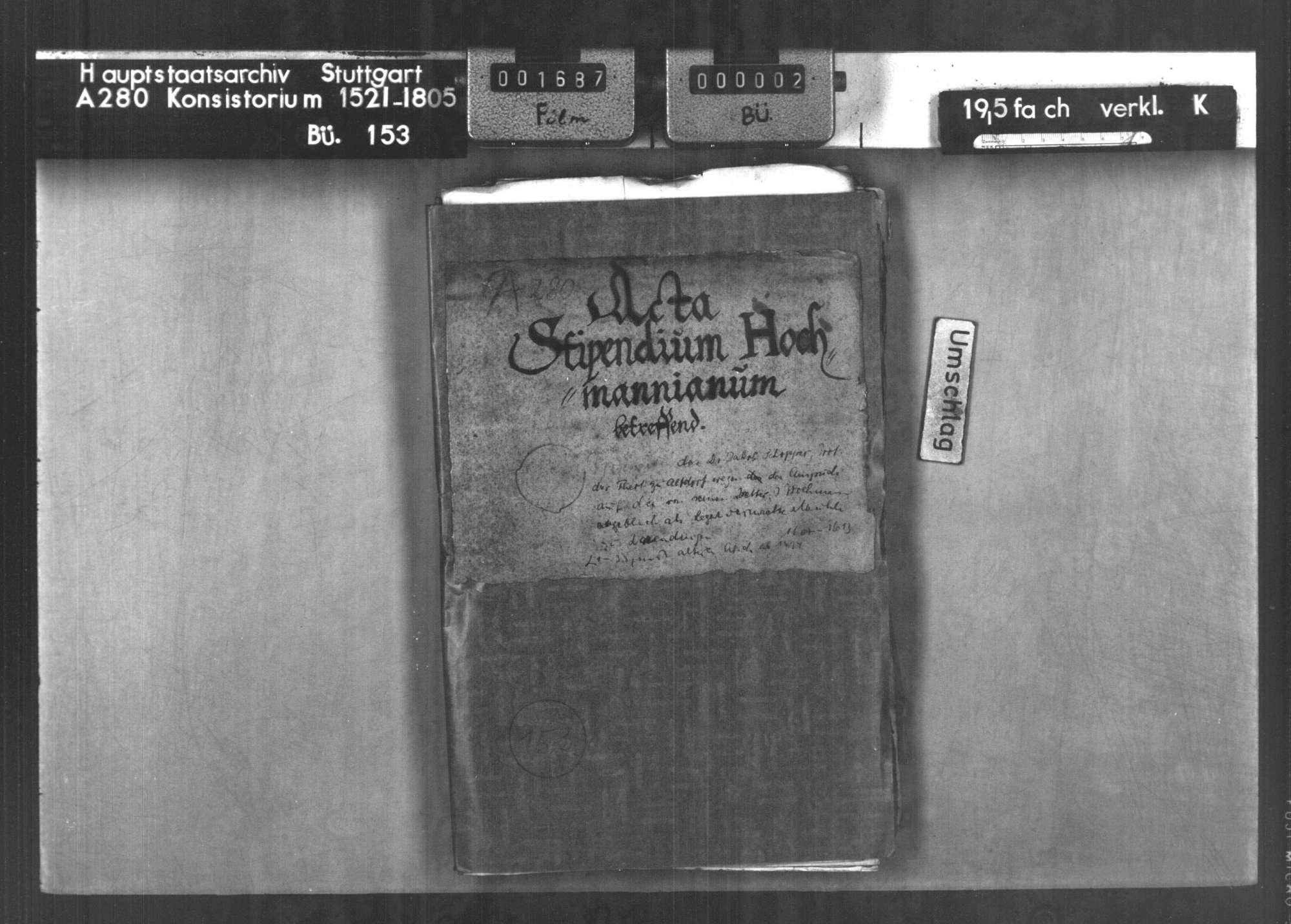 Prozesssache des Dr. Jacob Schopper, Professor der Theologie zu Altdorf, wegen des Anspruchs auf die ihm von seinem Vetter J. Hochmann angeblich als Leget vermachte Mühle zu Derendingen, Bild 1