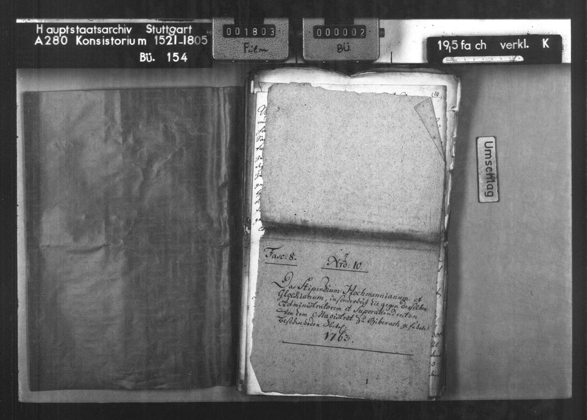 Beschwerde des Magistrats der Reichsstadt Biberach, ev. Anteils, gegen die Verwaltung der Hochmann- und Glock