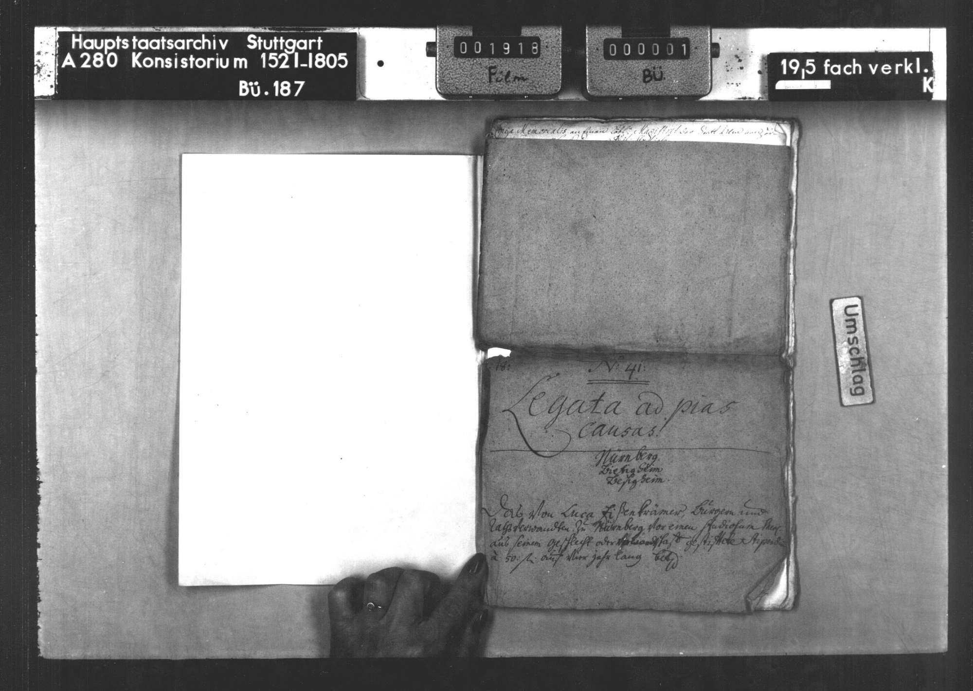 Anträge auf das Legat des Lukas Eisenkrämer, Bürgers und Ratsverwandten zu Nürnberg, für studierende Bürgersöhne von Nürnberg und Besigheim aus seinem Geschlecht oder seiner Verwandtschaft, Bild 2