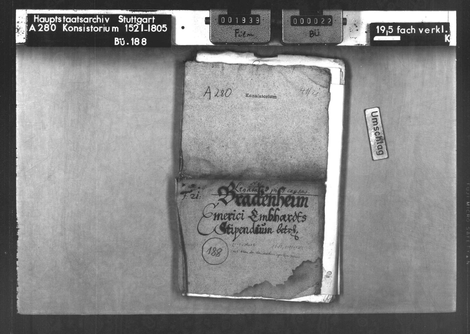 Die Stiftung des Priesters Emerikus Emhardt von Brackenheim zum Studium von 4 Bürgersöhnen von Brackenheim und Hausen auf der Universität Tübingen, Bild 1