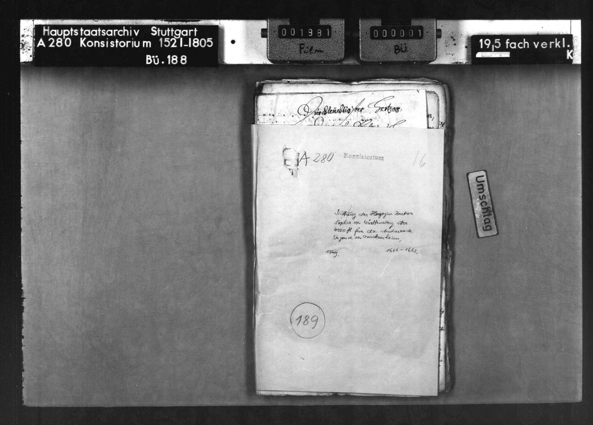 Stiftung der Herzogin Barbara Sophia von Württemberg über 4000 fl. für die studierende Jugend von Brackenheim, Bild 1