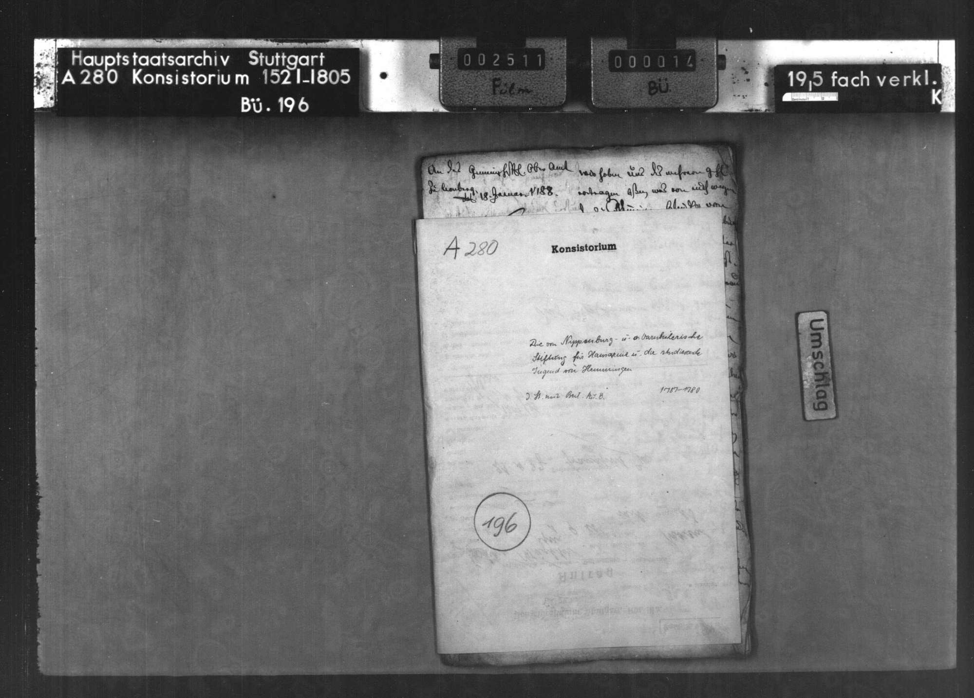 Die von Nippenburg- und von Varnbülerische Stiftung für Hausarme und die studierende Jugend von Hemmingen, Bild 1