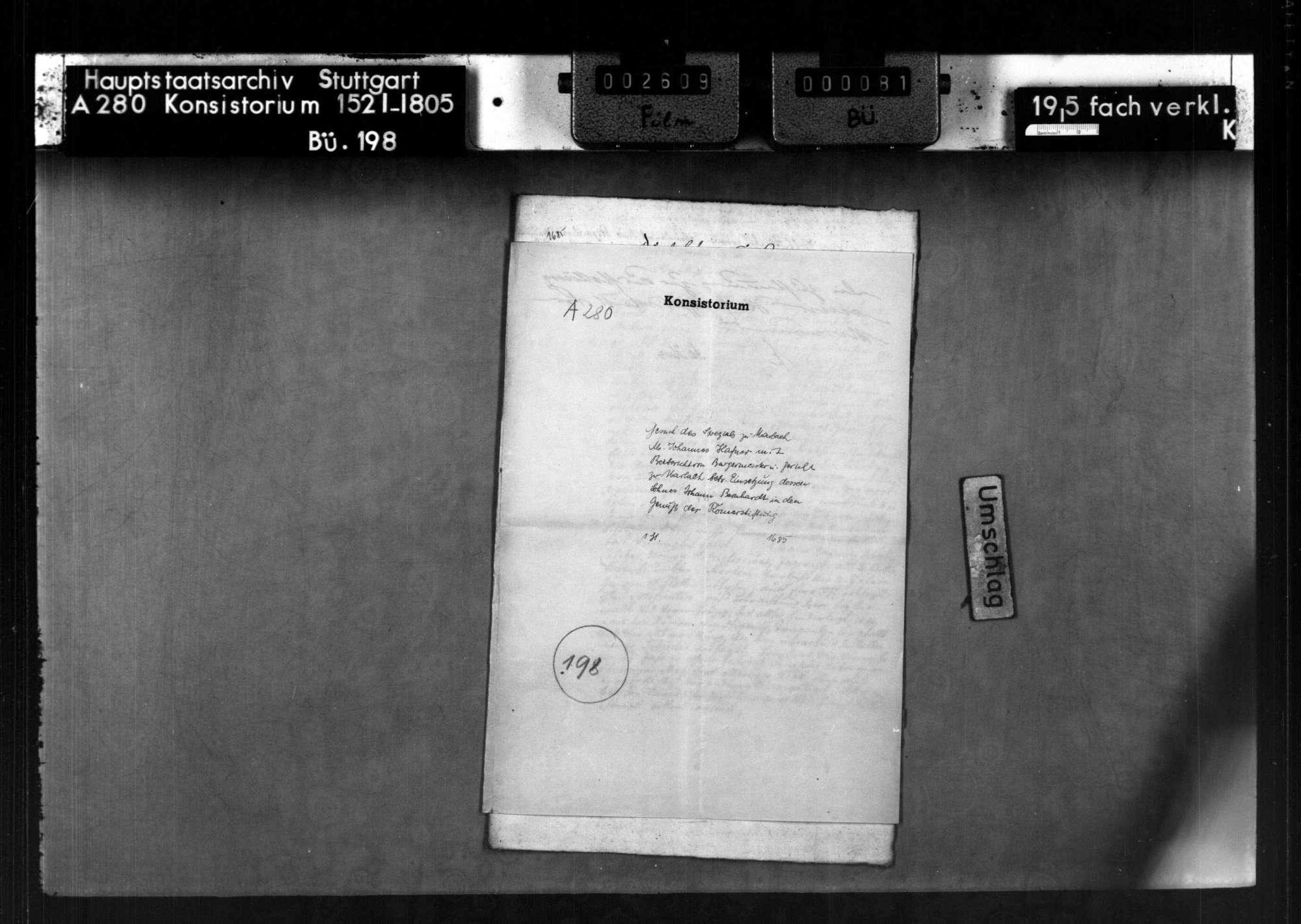 Gesuch des Spezals zu Marbach M. Johannes Hafner mit Beibericht von Bürgrmeister und Gericht zu Marbach betr. Einsetzung von dessen Sohn Johann Bernhardt in den Genuß der Römerstiftung, Bild 1