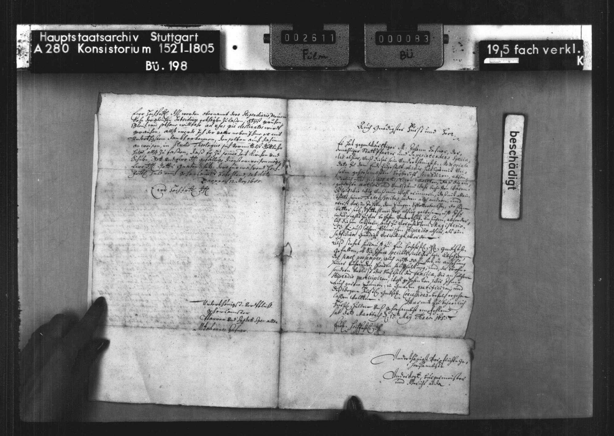 Gesuch des Spezals zu Marbach M. Johannes Hafner mit Beibericht von Bürgrmeister und Gericht zu Marbach betr. Einsetzung von dessen Sohn Johann Bernhardt in den Genuß der Römerstiftung, Bild 3