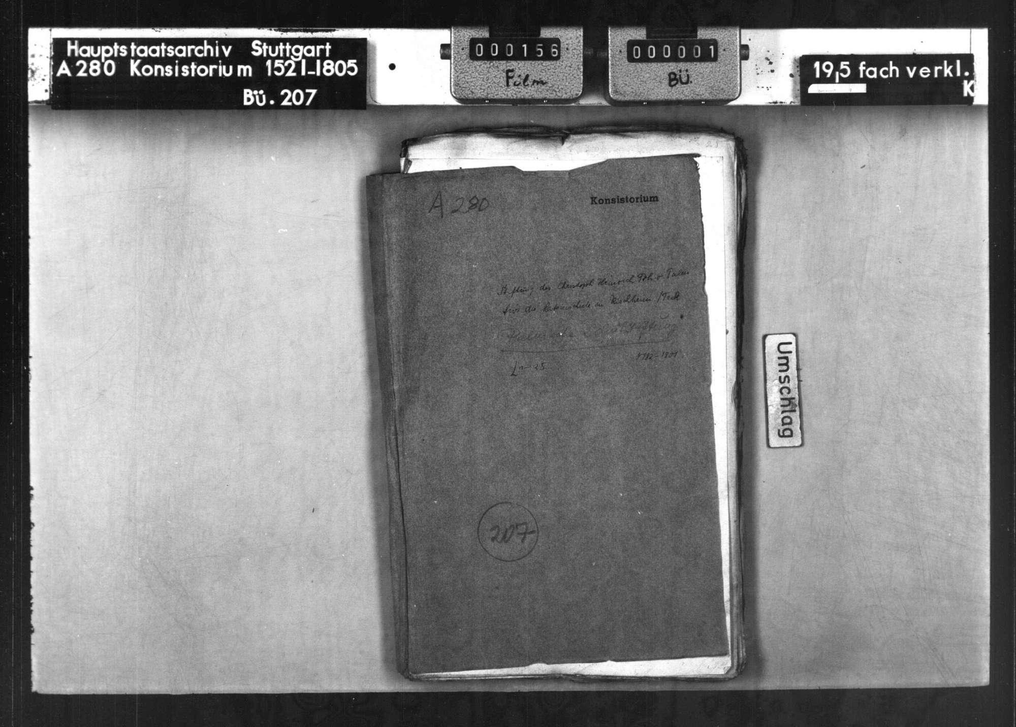 Stiftung des Christoph Heinrich Frh. von Palm für die Lateinschule in Kircheim/Teck, Bild 1