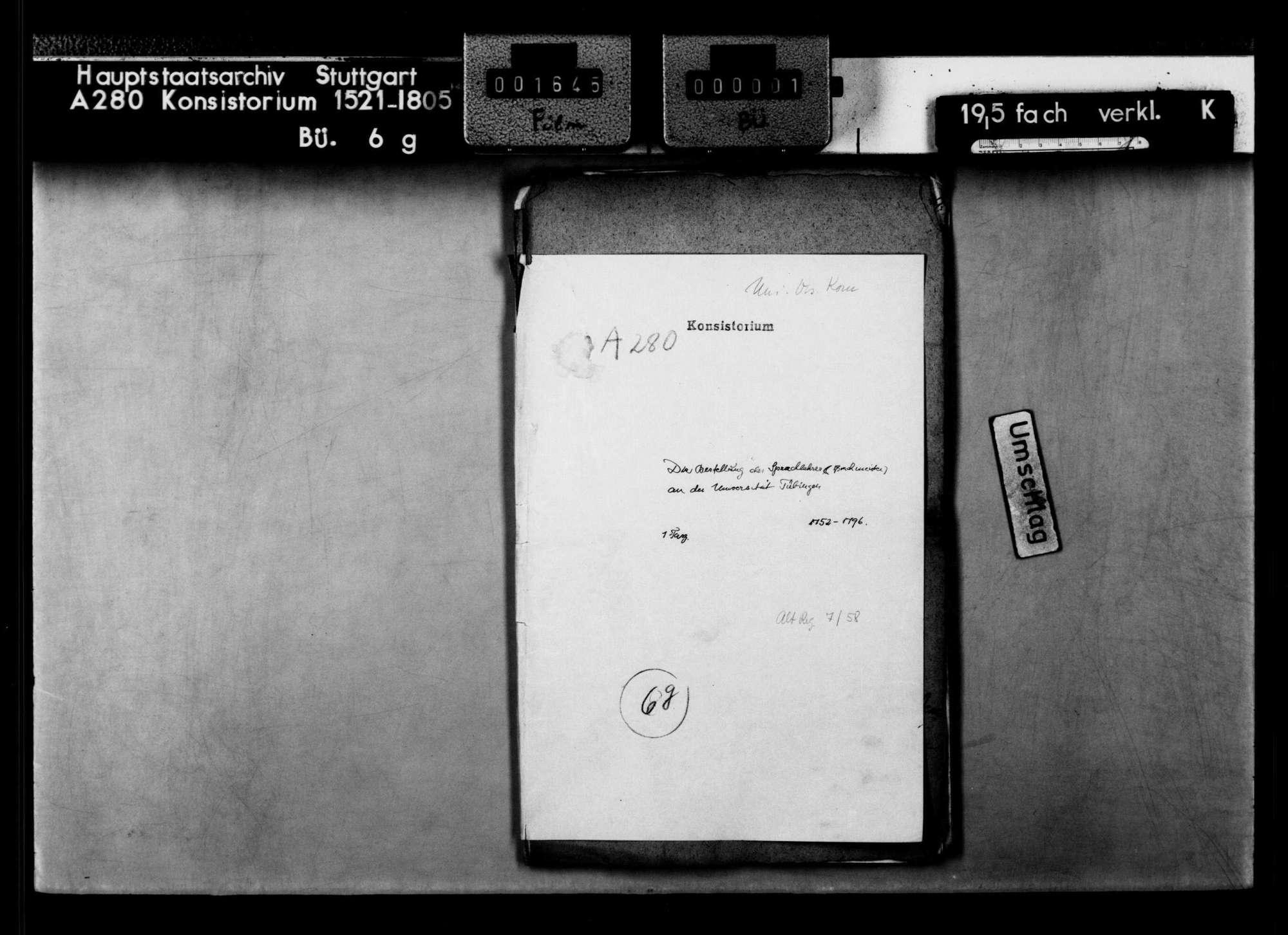 Bestellung der Sprachmeister (Sprachlehrer) an der Universität Tübingen, Bild 1