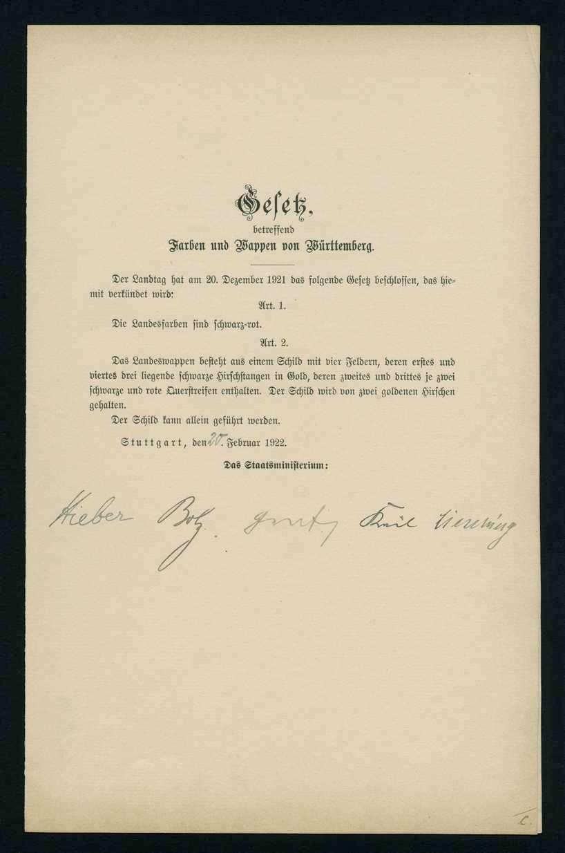 Bekanntmachung des Staatsministeriums betr. die amtliche Mustervorlage des Wappens von Württemberg, Bild 1