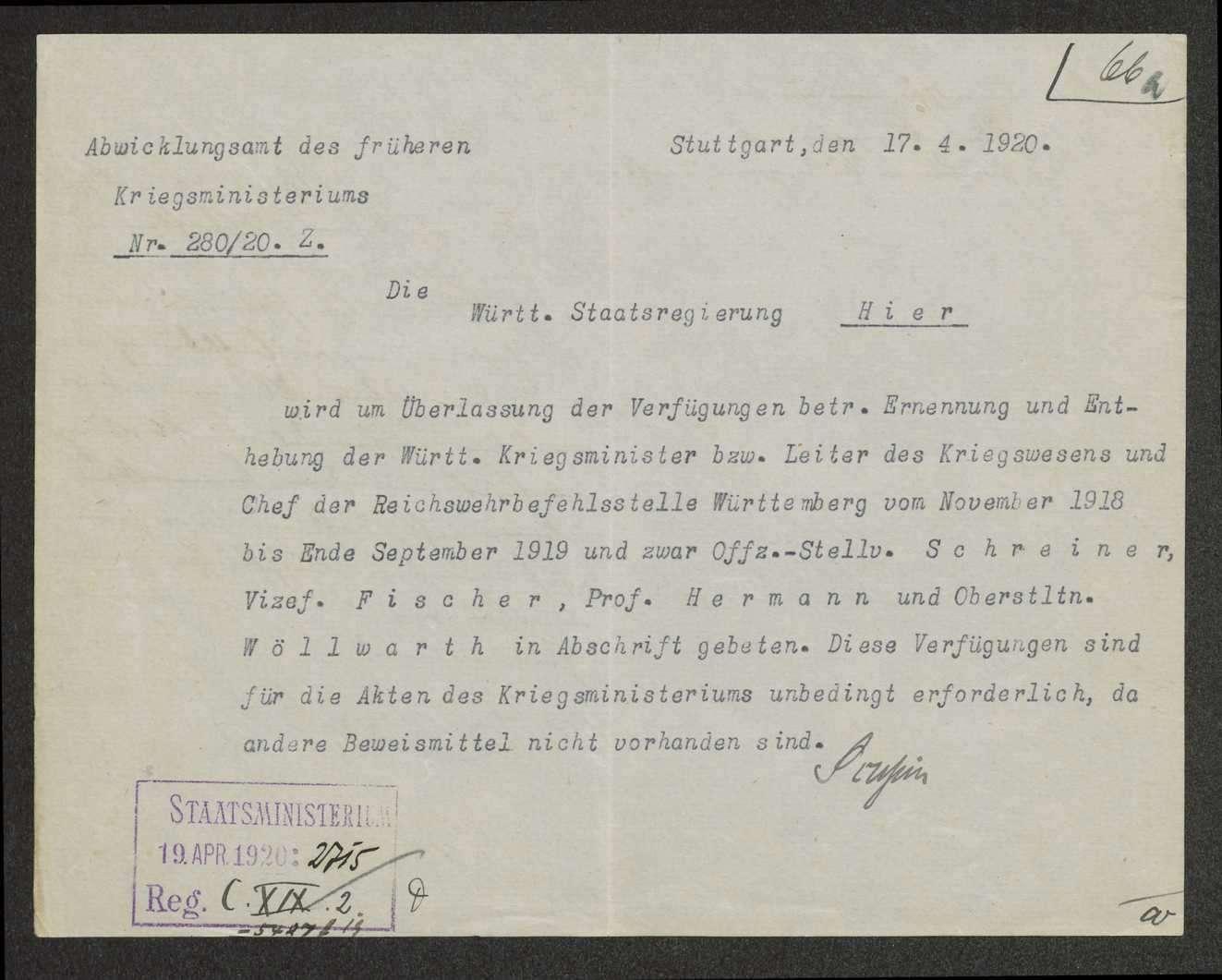 Bildung der Württ. Landesregierung, Ernennung und Entlassung der Minister, Bild 1