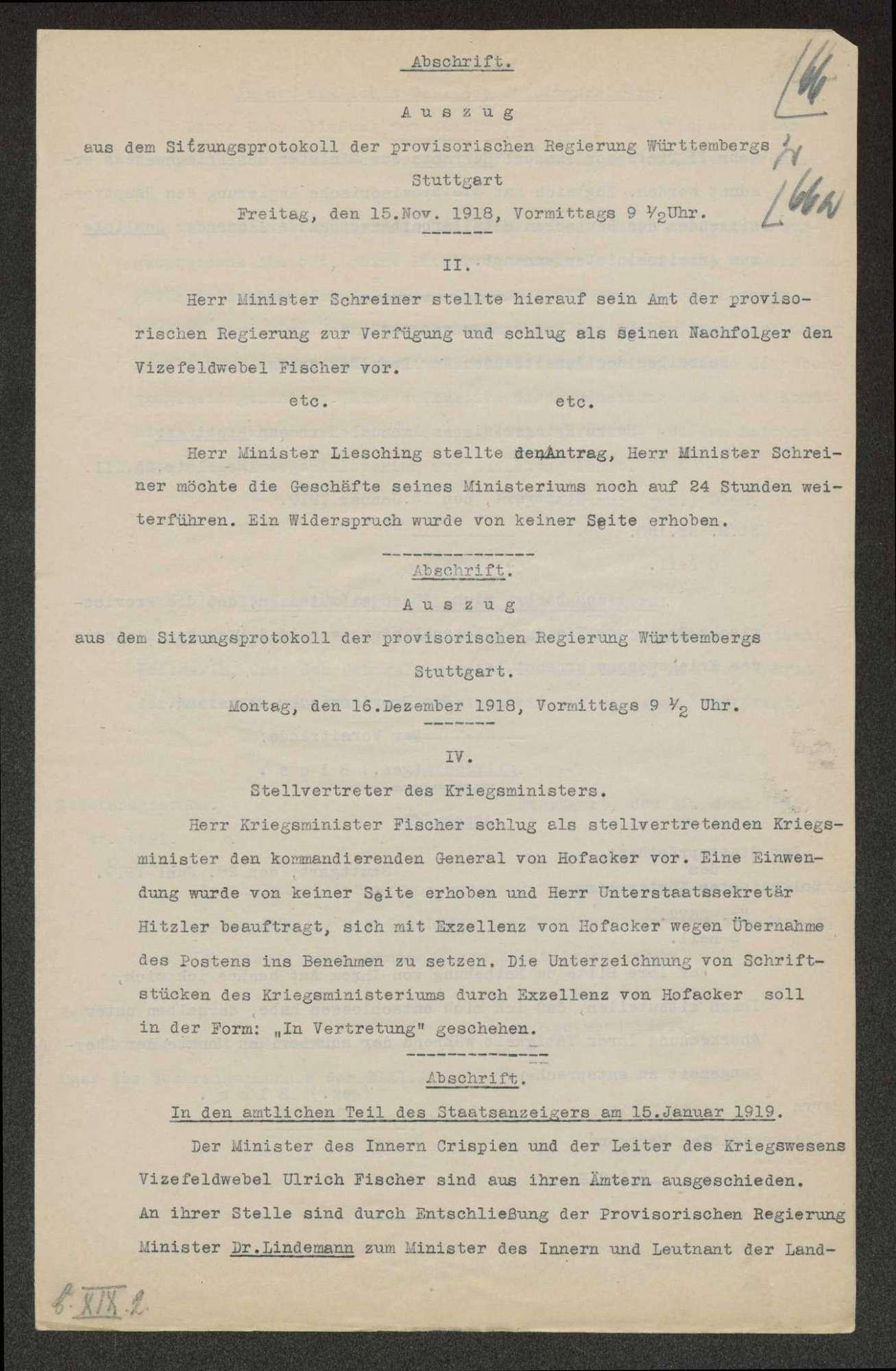 Bildung der Württ. Landesregierung, Ernennung und Entlassung der Minister, Bild 3