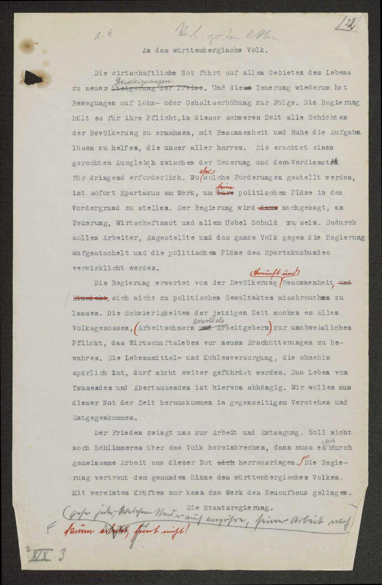 Aufrufe, Anordnungen, Verordnungen, Erlasse usw. der Provisorischen Regierung, die im Zusammenhang mit der Staatsumwälzung vom 09.11.1918 ergangen sind, Bild 1