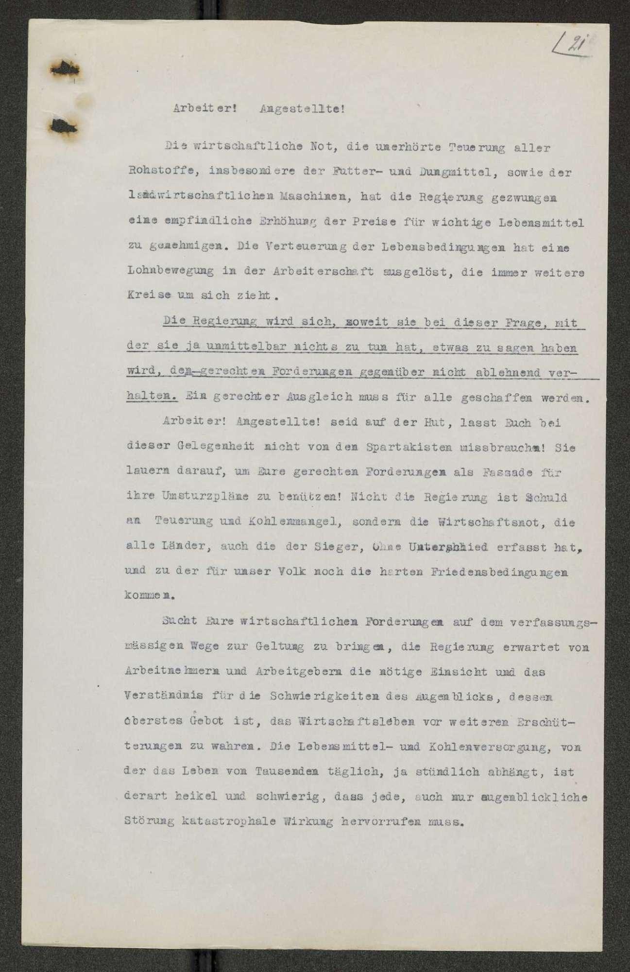 Aufrufe, Anordnungen, Verordnungen, Erlasse usw. der Provisorischen Regierung, die im Zusammenhang mit der Staatsumwälzung vom 09.11.1918 ergangen sind, Bild 2