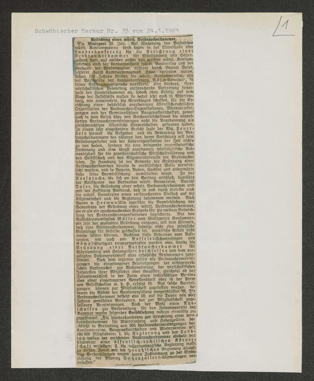 Verbraucherkammer für Württemberg-Hohenzollern mit gedruckter Satzung von 1921, Bild 1