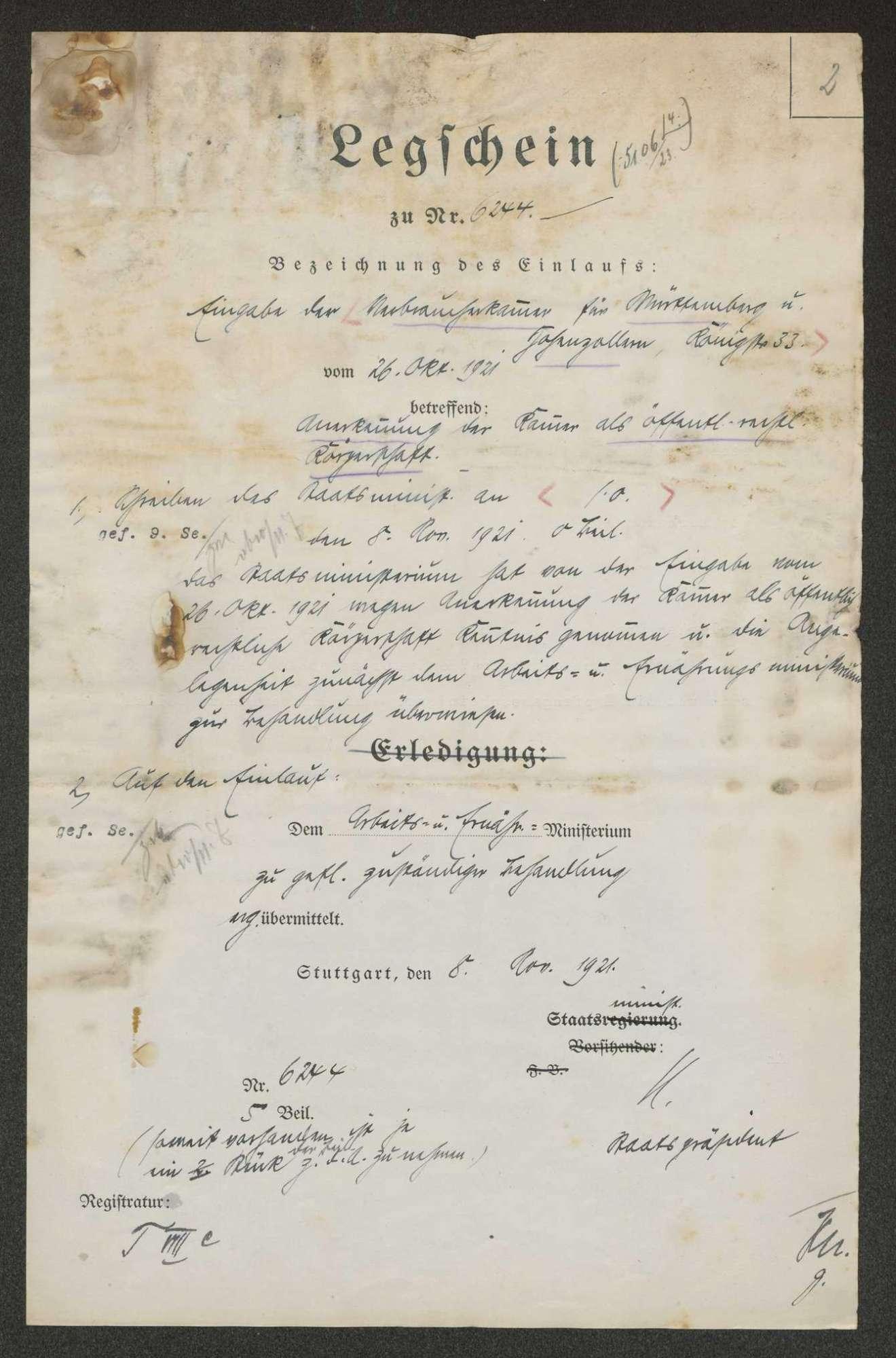 Verbraucherkammer für Württemberg-Hohenzollern mit gedruckter Satzung von 1921, Bild 2