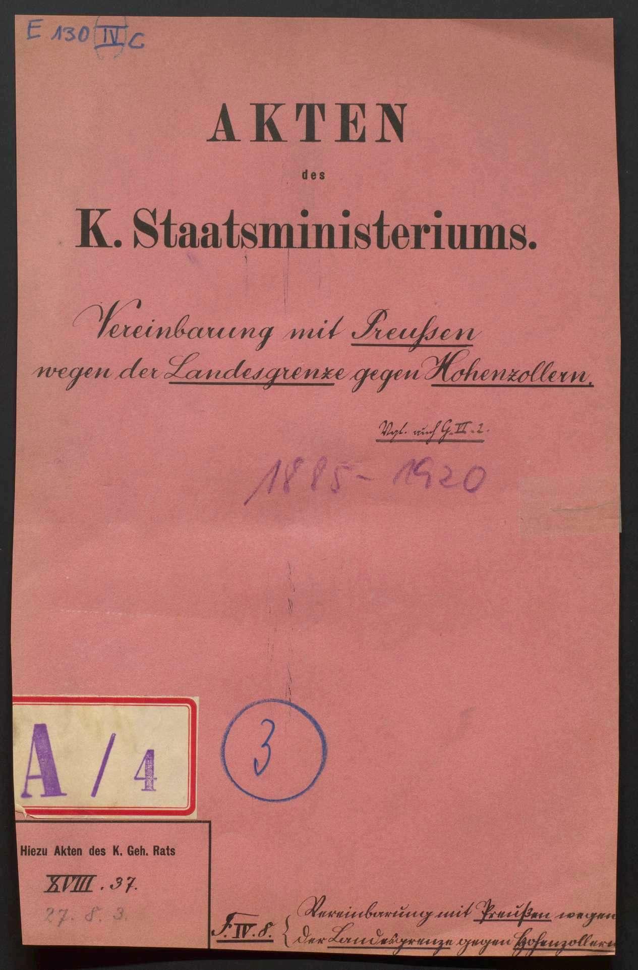 Vereinbarung mit Preußen wegen der Landesgrenze gegen Hohenzollern, Bild 1