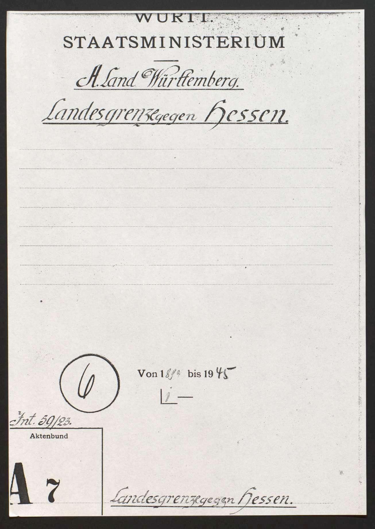Begehung, Erhaltung und Berichtigung der Landesgrenze gegen Hessen, Bild 1