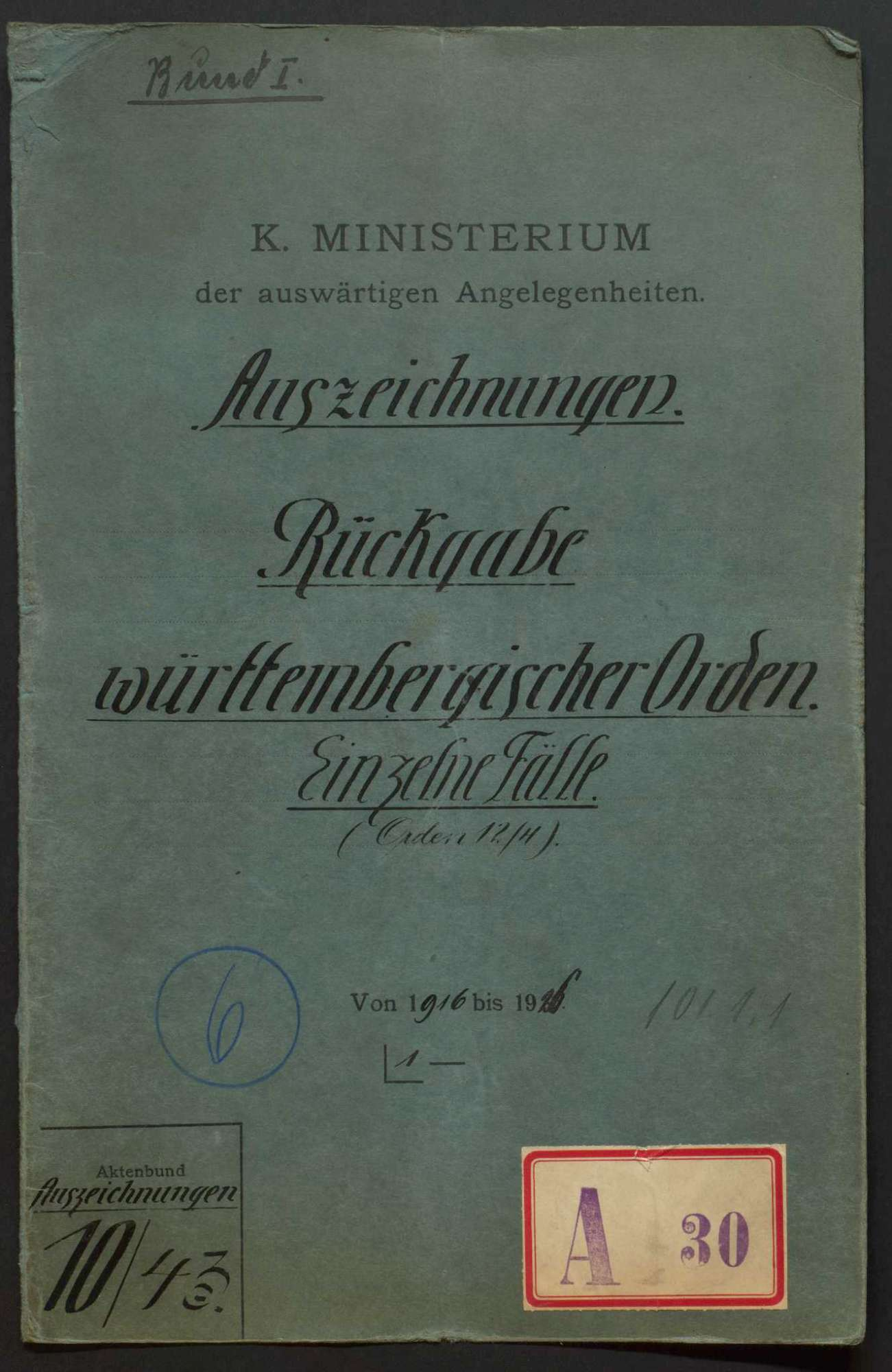 Rückgabe württembergischer Orden, Bild 1