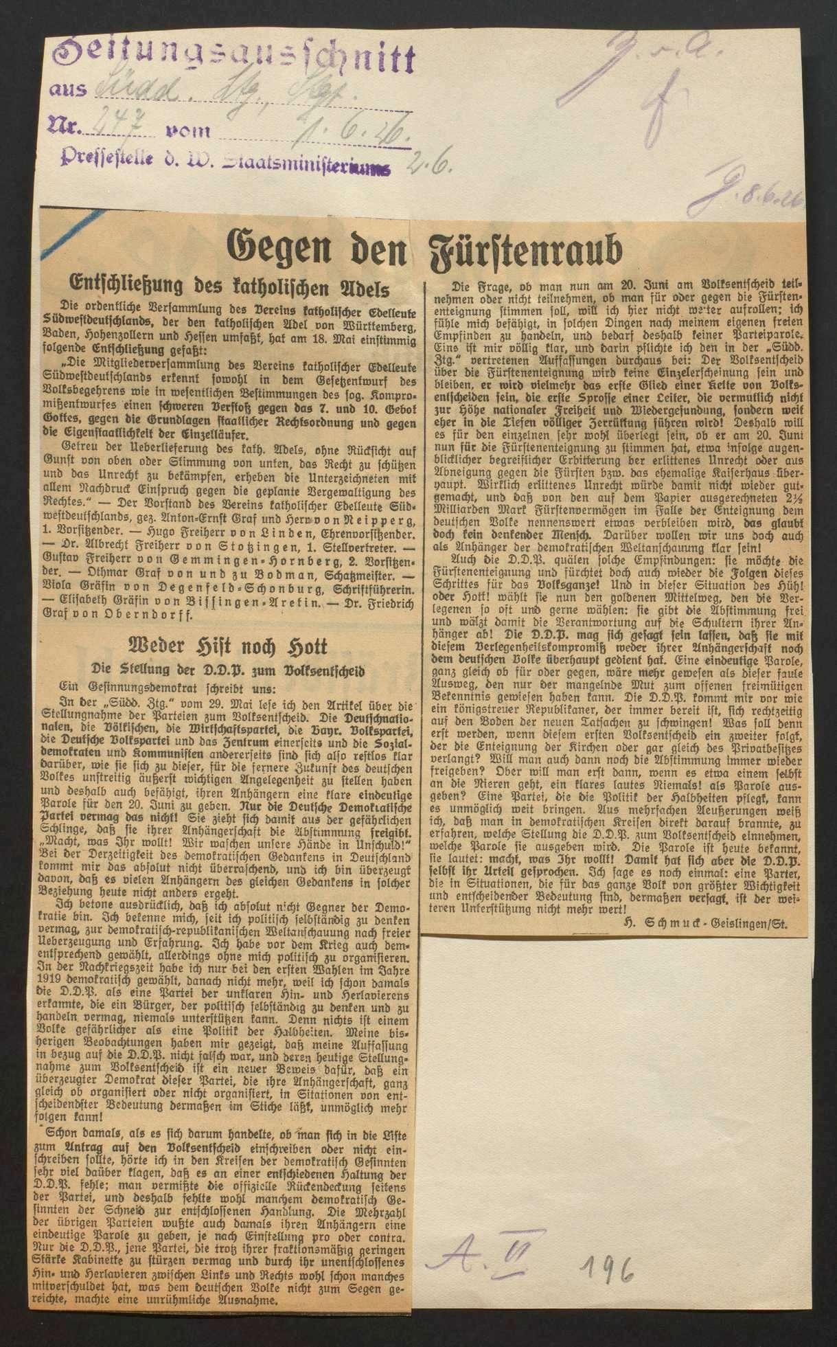 Abfindung der Fürstenhäuser (Volksbegehren, Volksentscheid) sowie Vermögensauseinandersetzung mit dem Haus Württemberg, Bild 2