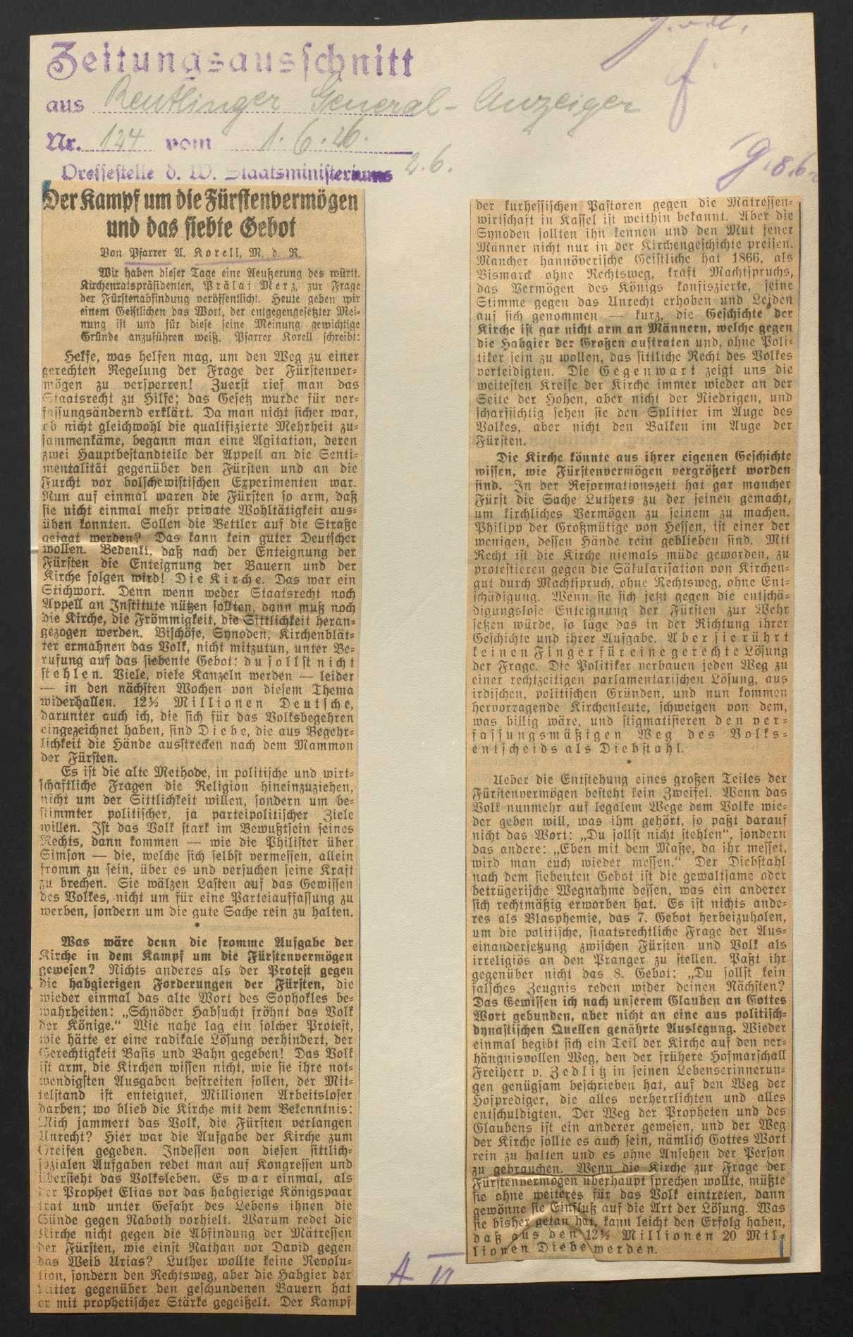 Abfindung der Fürstenhäuser (Volksbegehren, Volksentscheid) sowie Vermögensauseinandersetzung mit dem Haus Württemberg, Bild 3