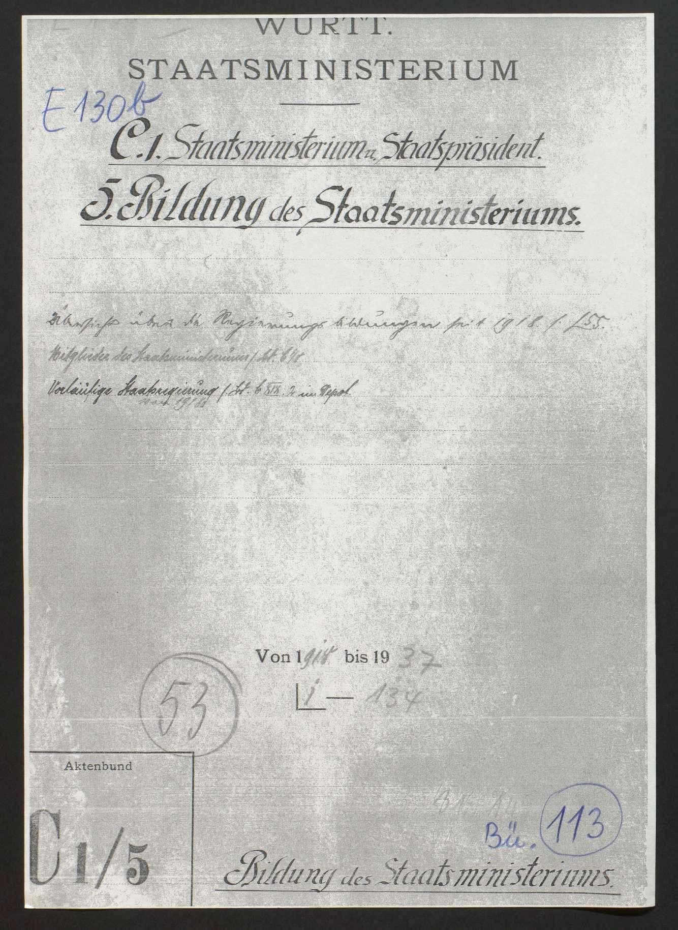 Bildung, Erweiterung, Umbildung und Rücktritt der Landesregierung, Bild 1