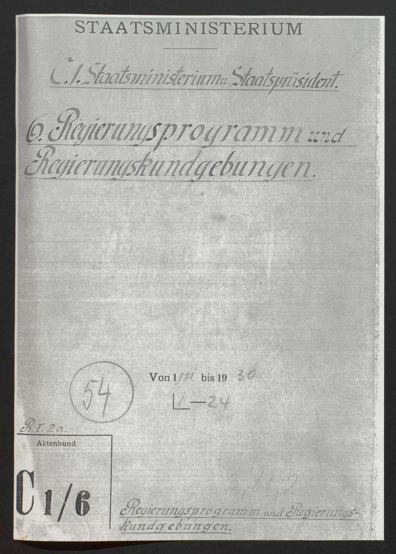 Regierungserklärungen und Regierungsprogramme, Bild 1